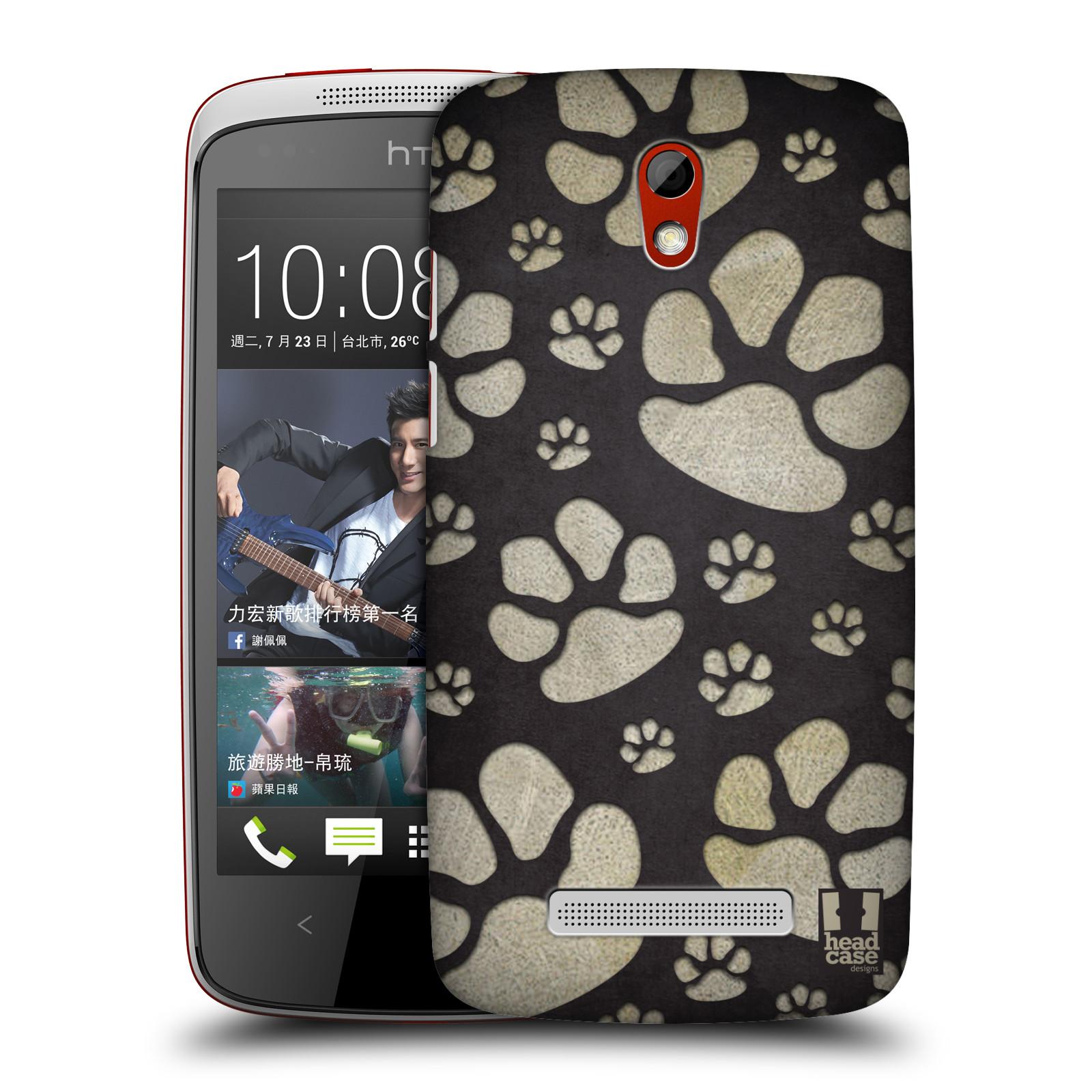 Plastové pouzdro na mobil HTC Desire 500 HEAD CASE TLAPKY ŠEDÉ (Kryt či obal na mobilní telefon HTC Desire 500)