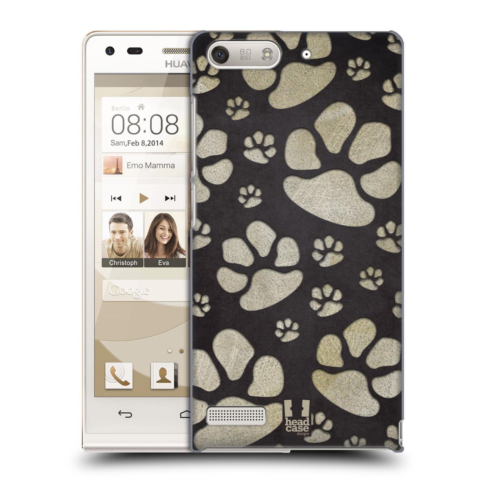 Plastové pouzdro na mobil Huawei Ascend G6 HEAD CASE TLAPKY ŠEDÉ (Kryt či obal na mobilní telefon Huawei Ascend G6 bez LTE)