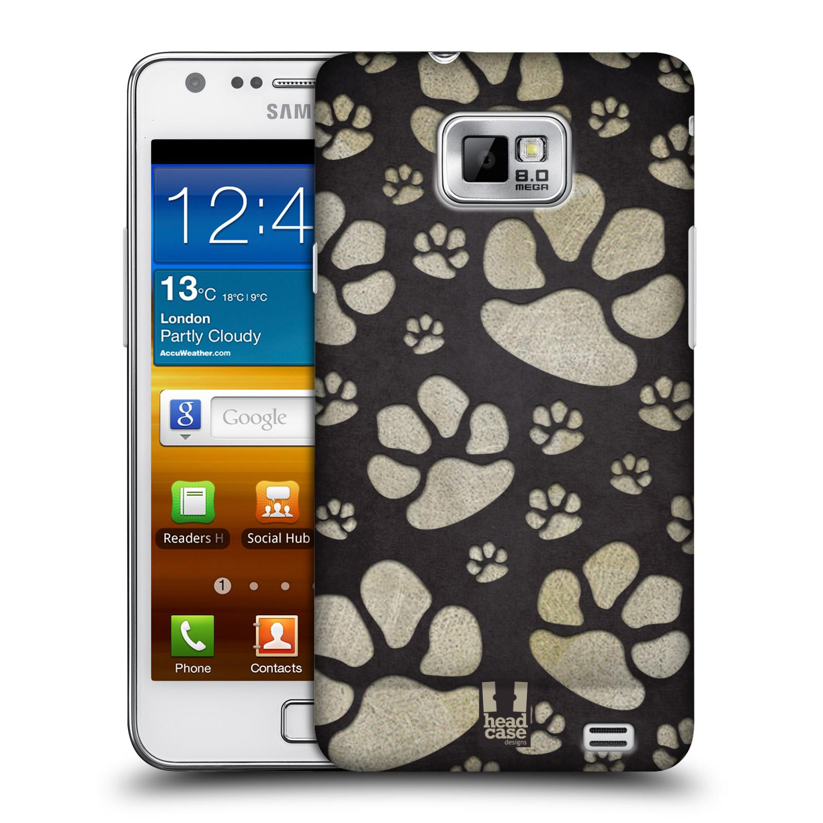 Plastové pouzdro na mobil Samsung Galaxy S II HEAD CASE TLAPKY ŠEDÉ (Kryt či obal na mobilní telefon Samsung Galaxy S II GT-i9100)