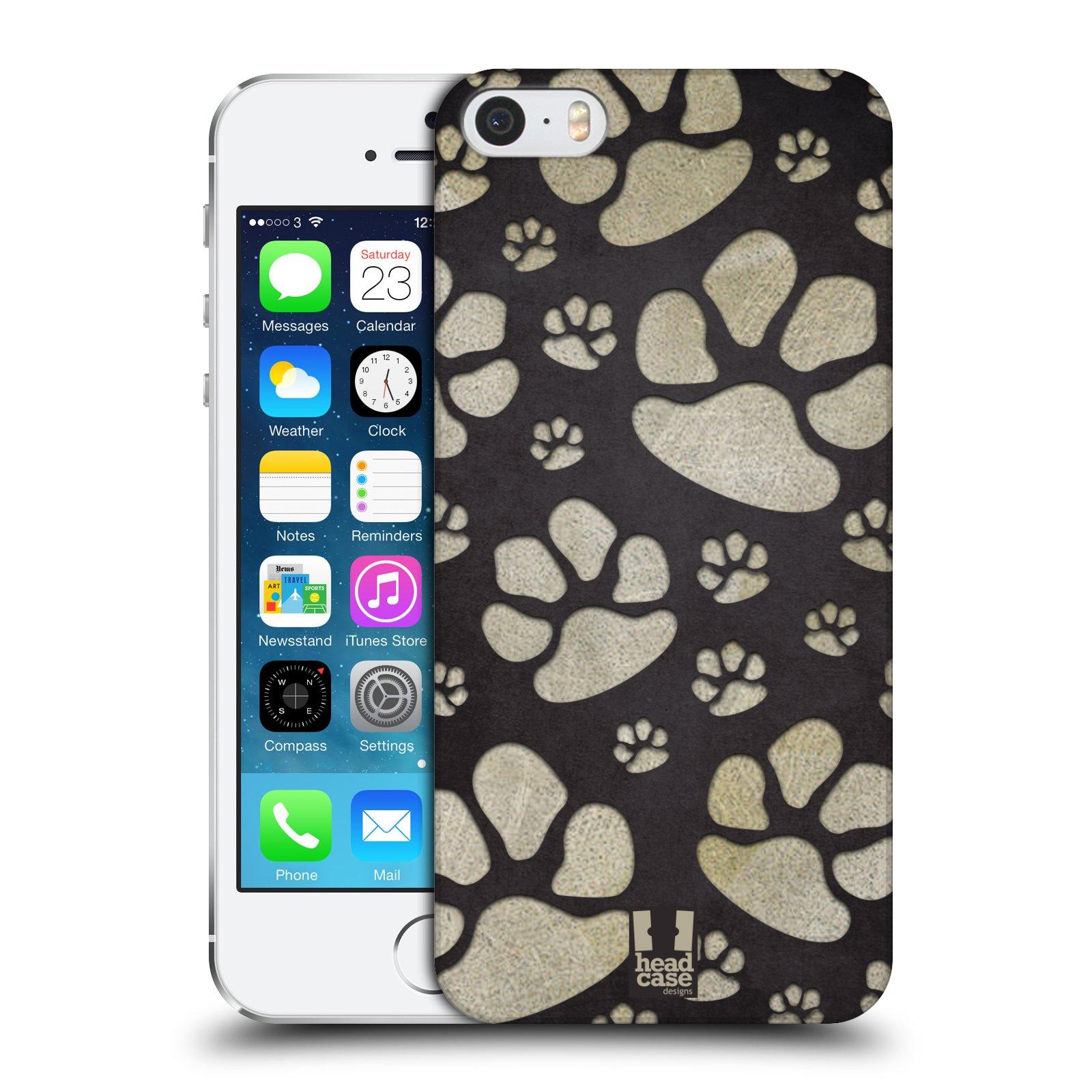 Plastové pouzdro na mobil Apple iPhone SE, 5 a 5S HEAD CASE TLAPKY ŠEDÉ