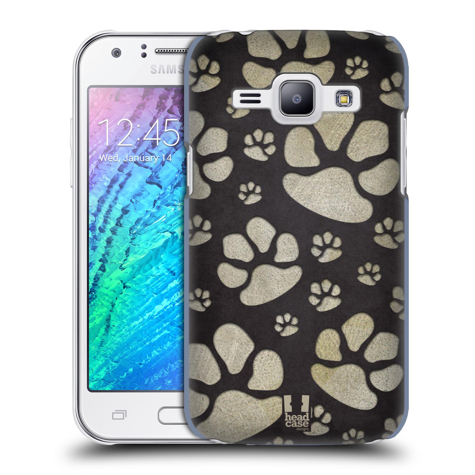 Plastové pouzdro na mobil Samsung Galaxy J1 HEAD CASE TLAPKY ŠEDÉ (Kryt či obal na mobilní telefon Samsung Galaxy J1 a J1 Duos )