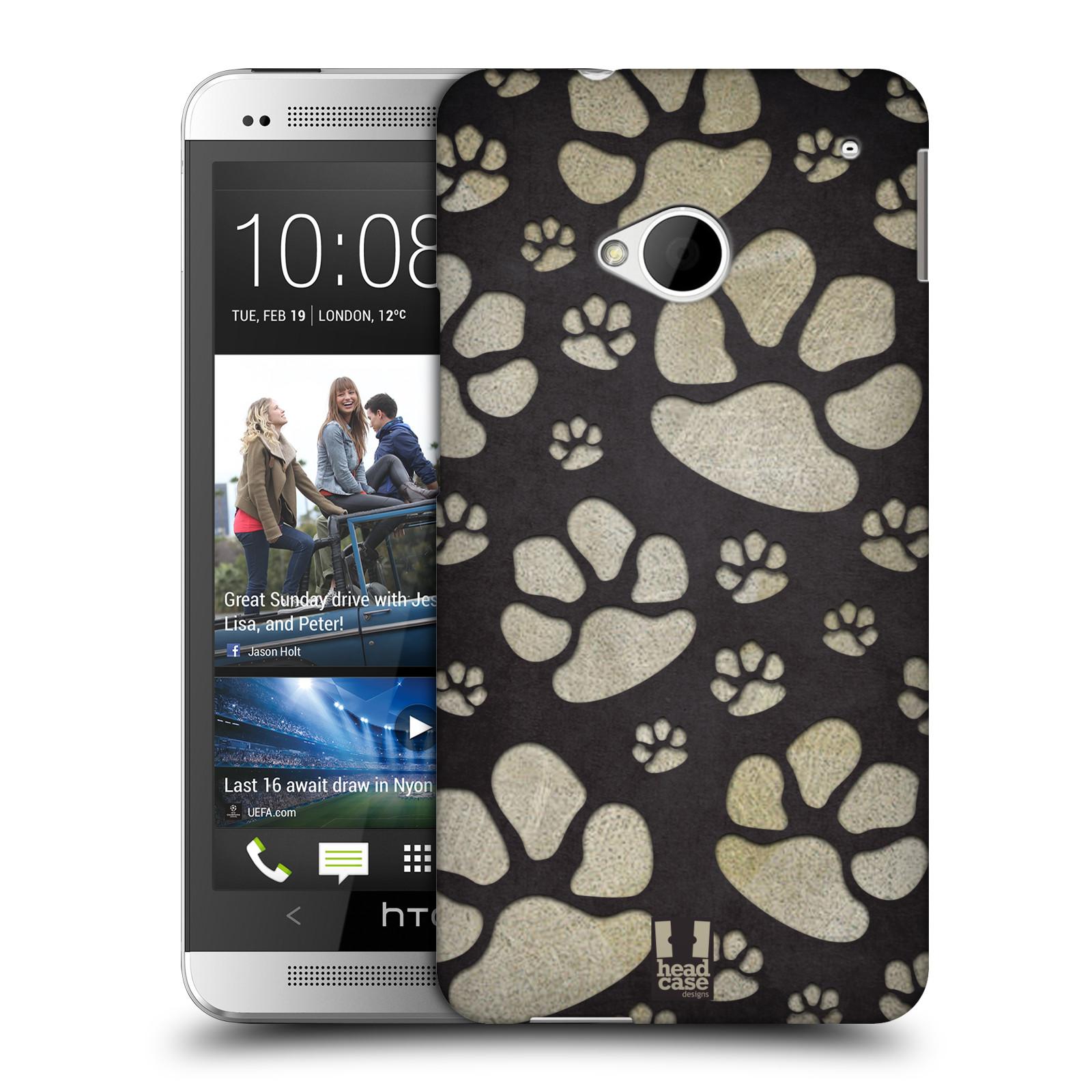 Plastové pouzdro na mobil HTC ONE M7 HEAD CASE TLAPKY ŠEDÉ (Kryt či obal na mobilní telefon HTC ONE M7)