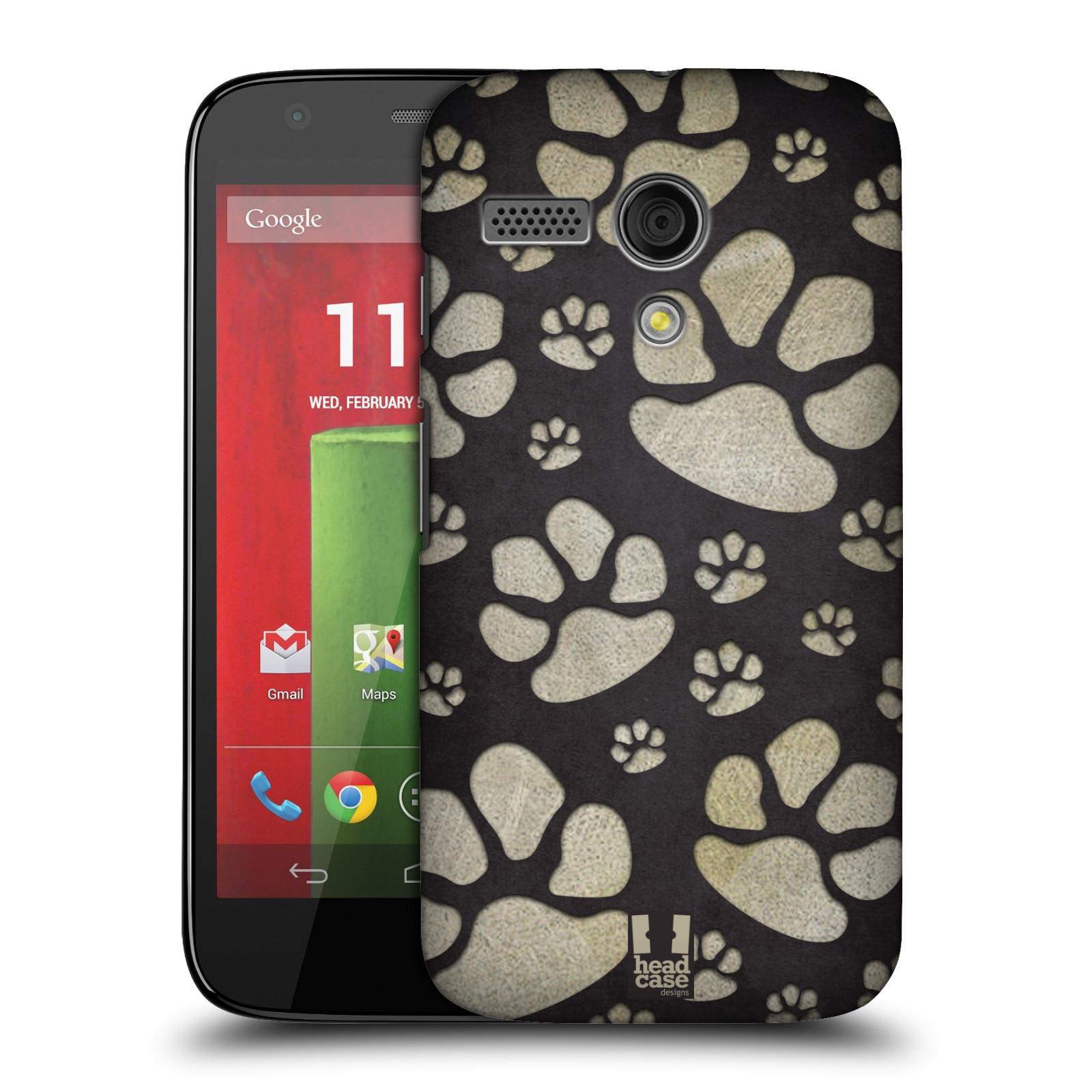 Plastové pouzdro na mobil Motorola Moto G HEAD CASE TLAPKY ŠEDÉ (Kryt či obal na mobilní telefon Motorola Moto G)