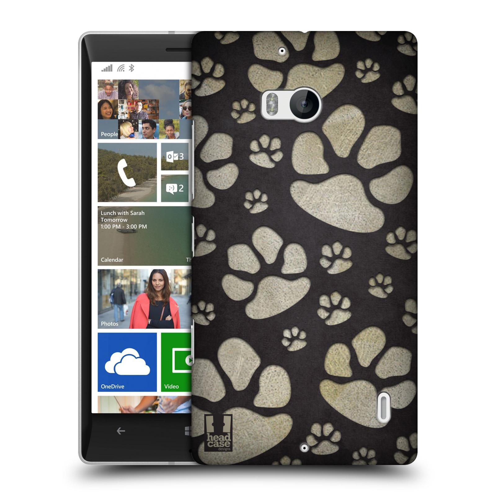 Plastové pouzdro na mobil Nokia Lumia 930 HEAD CASE TLAPKY ŠEDÉ (Kryt či obal na mobilní telefon Nokia Lumia 930)