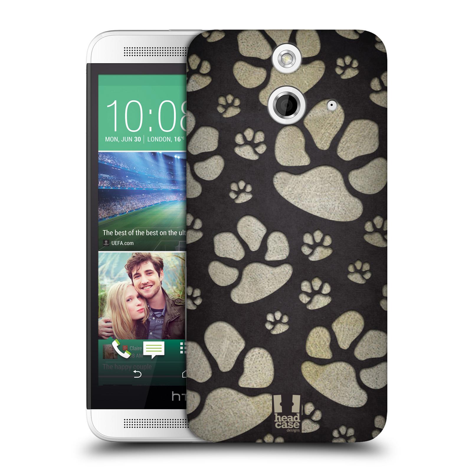 Plastové pouzdro na mobil HTC ONE E8 HEAD CASE TLAPKY ŠEDÉ (Kryt či obal na mobilní telefon HTC ONE E8)