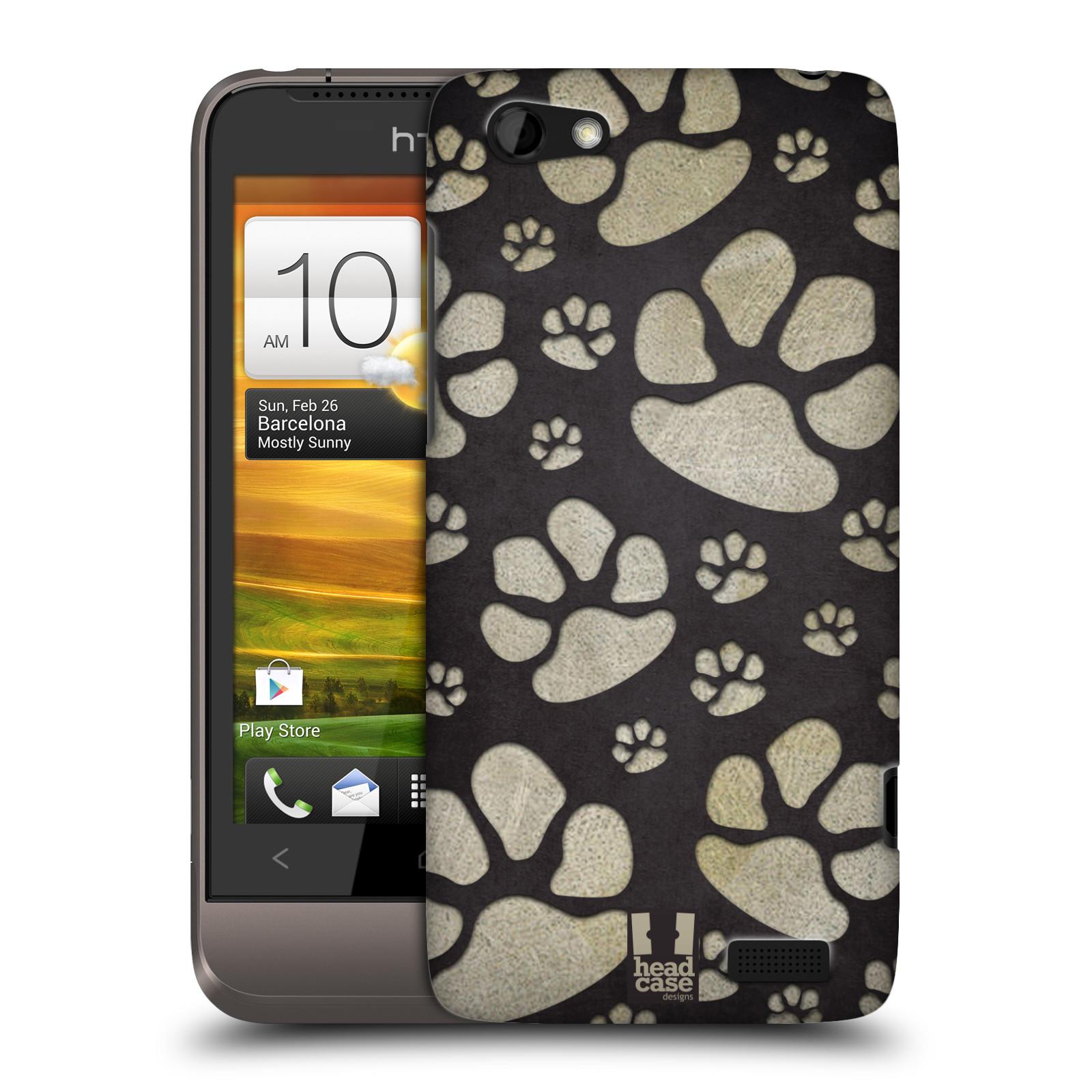 Plastové pouzdro na mobil HTC ONE V HEAD CASE TLAPKY ŠEDÉ (Kryt či obal na mobilní telefon HTC ONE V)
