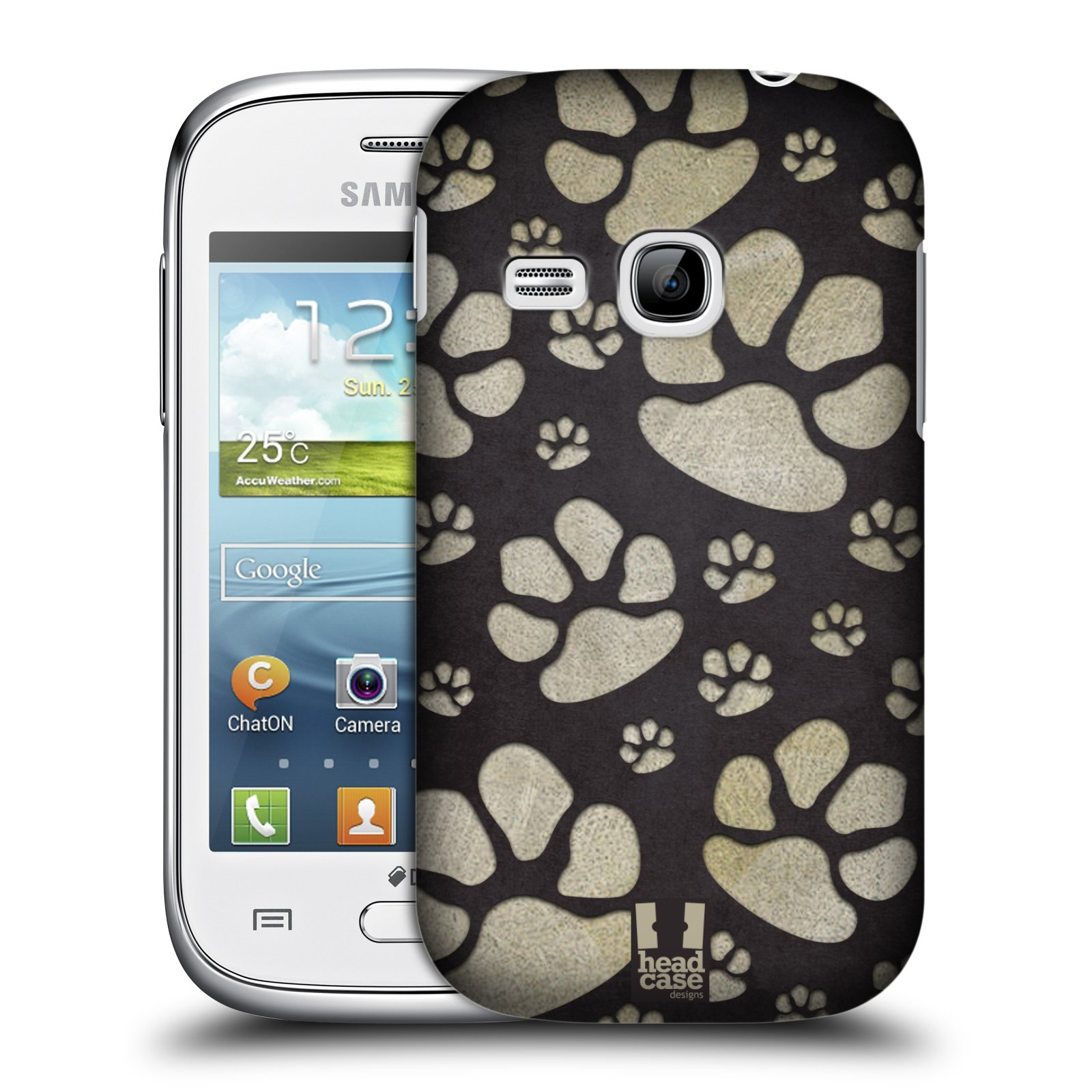 Plastové pouzdro na mobil Samsung Galaxy Young HEAD CASE TLAPKY ŠEDÉ (Kryt či obal na mobilní telefon Samsung Galaxy Young GT-S6310)