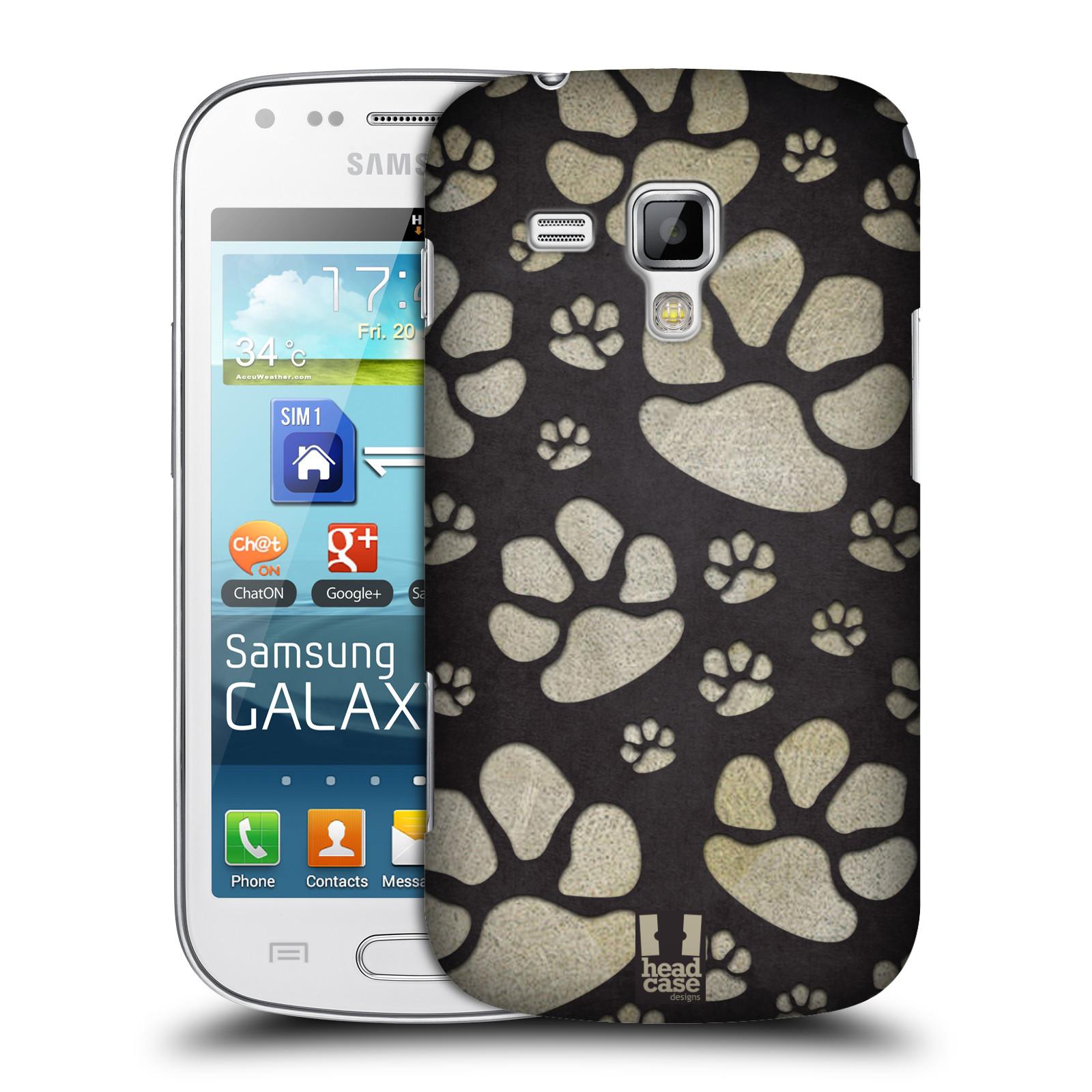 Plastové pouzdro na mobil Samsung Galaxy S Duos HEAD CASE TLAPKY ŠEDÉ (Kryt či obal na mobilní telefon Samsung Galaxy S Duos GT-S7562)