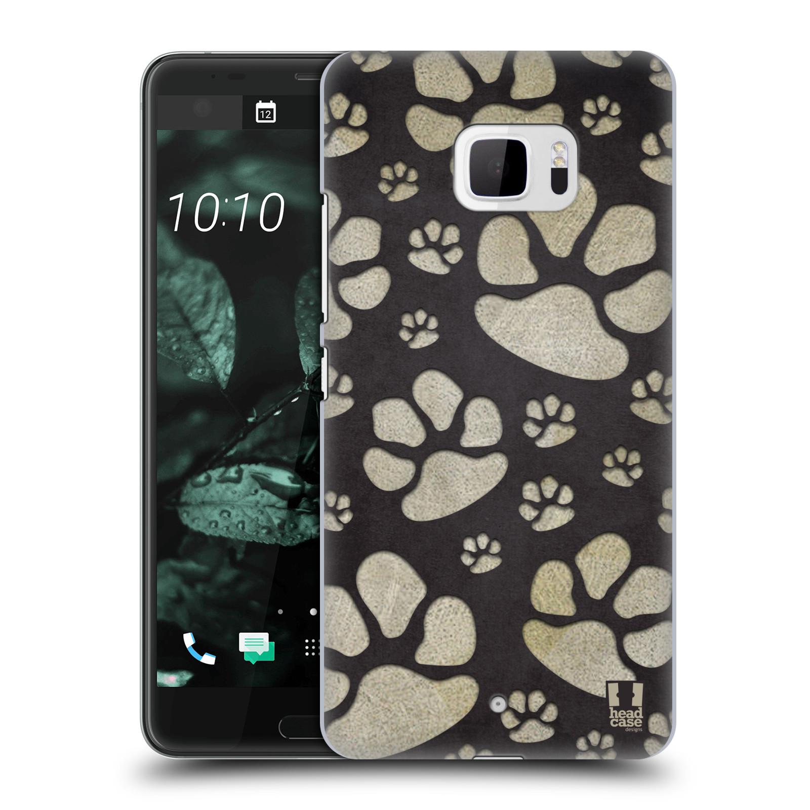 Plastové pouzdro na mobil HTC U Ultra Head Case - TLAPKY ŠEDÉ (Plastový kryt či obal na mobilní telefon HTC U Ultra (99HALT015-00))