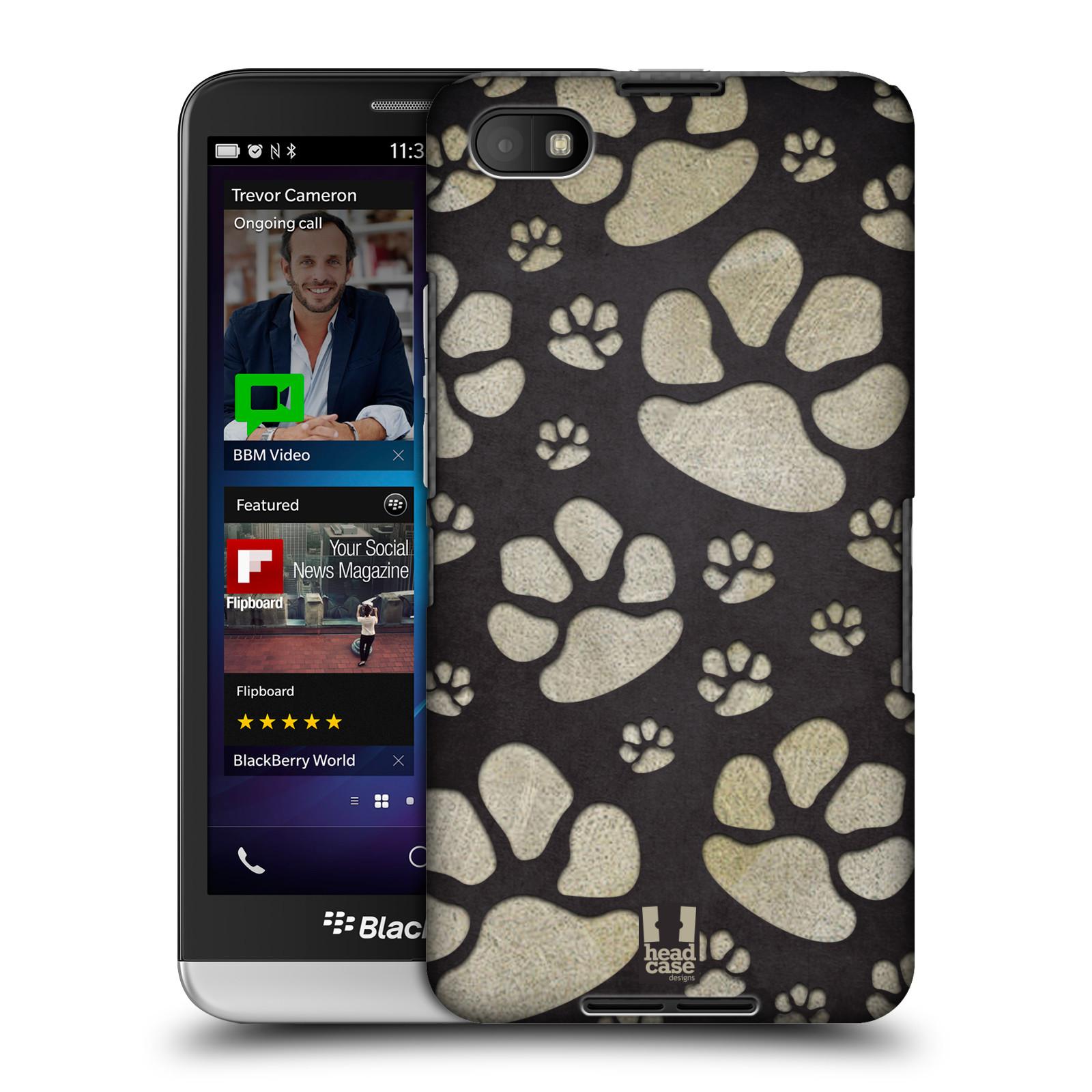 Plastové pouzdro na mobil Blackberry Z30 HEAD CASE TLAPKY ŠEDÉ (Kryt či obal na mobilní telefon Blackberry Z30)