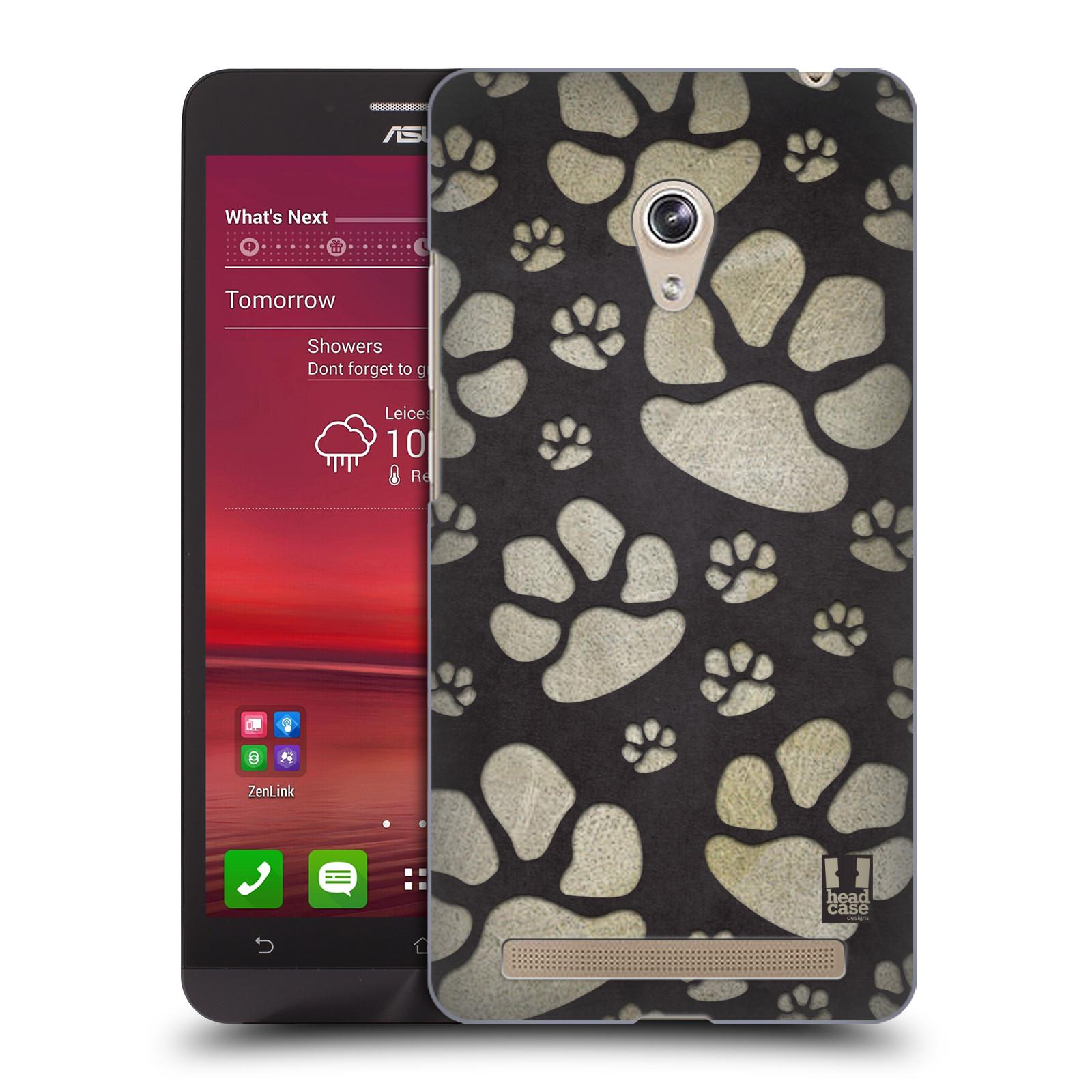 Plastové pouzdro na mobil Asus Zenfone 6 HEAD CASE TLAPKY ŠEDÉ (Kryt či obal na mobilní telefon Asus Zenfone 6 A600CG / A601CG)