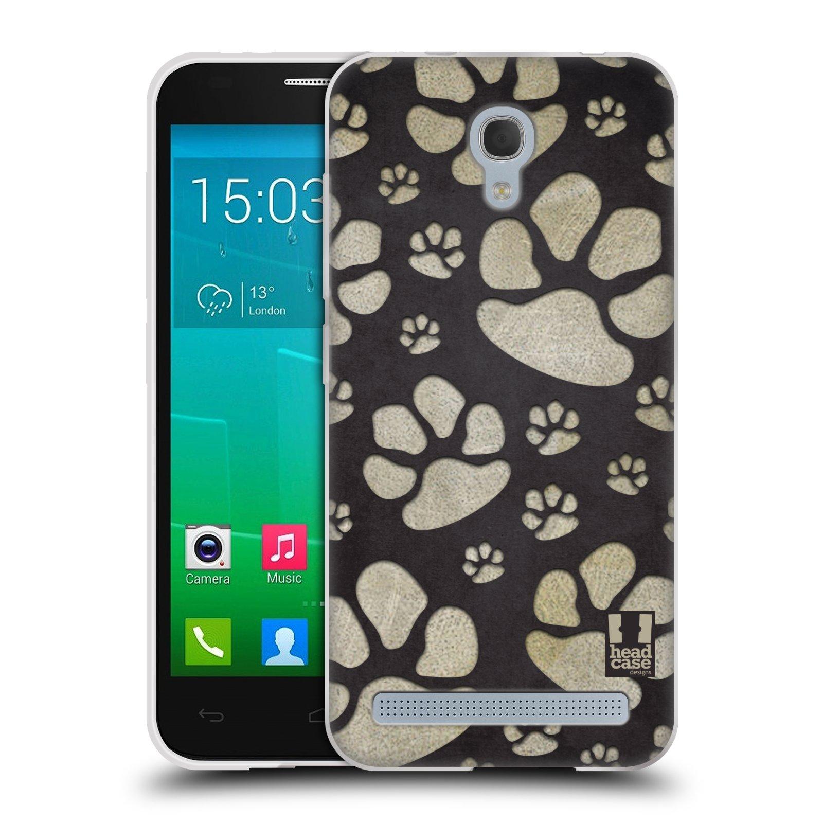 Silikonové pouzdro na mobil Alcatel One Touch Idol 2 Mini S 6036Y HEAD CASE TLAPKY ŠEDÉ (Silikonový kryt či obal na mobilní telefon Alcatel Idol 2 Mini S OT-6036Y)