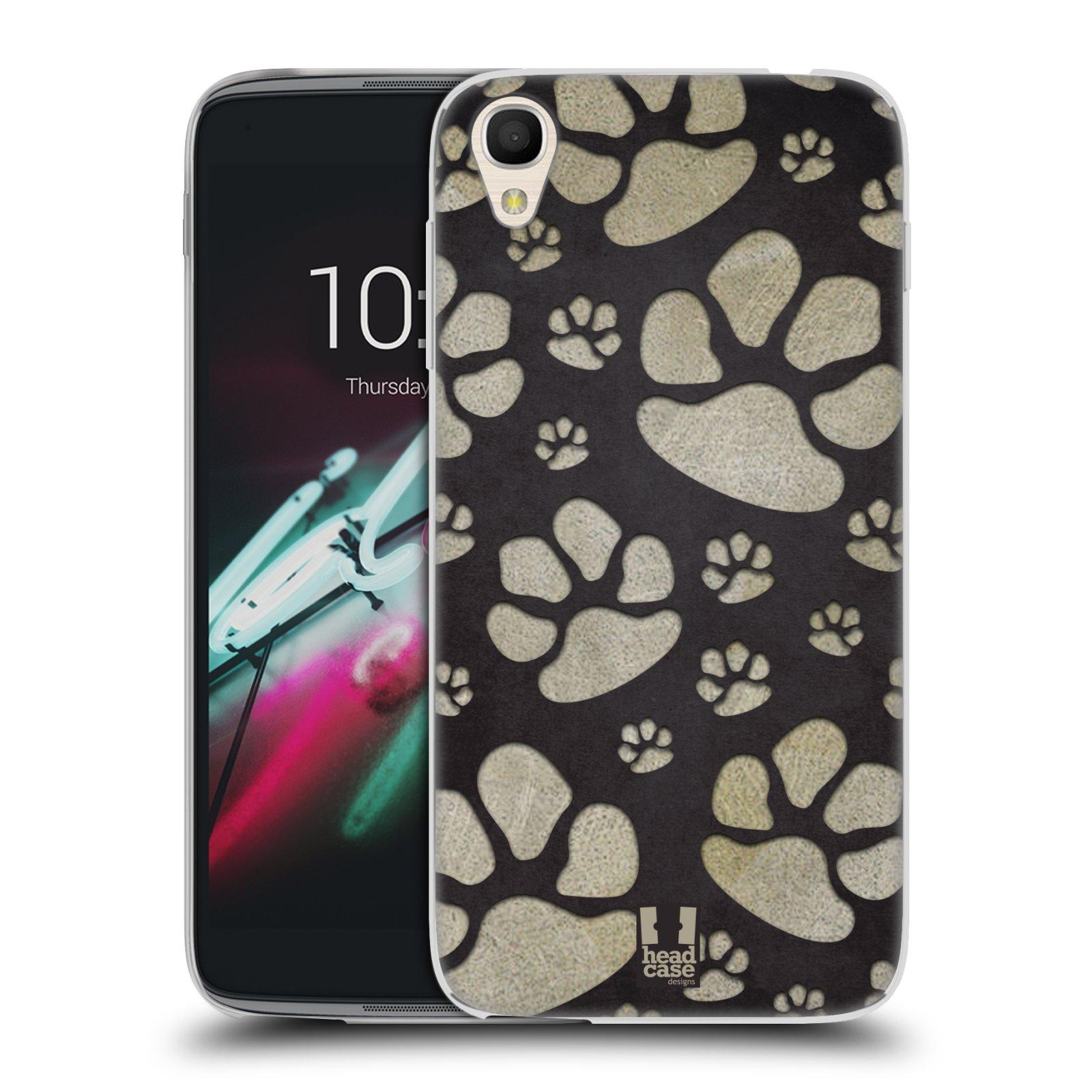 """Silikonové pouzdro na mobil Alcatel One Touch 6039Y Idol 3 HEAD CASE TLAPKY ŠEDÉ (Silikonový kryt či obal na mobilní telefon Alcatel One Touch Idol 3 OT-6039Y s 4,7"""" displejem)"""