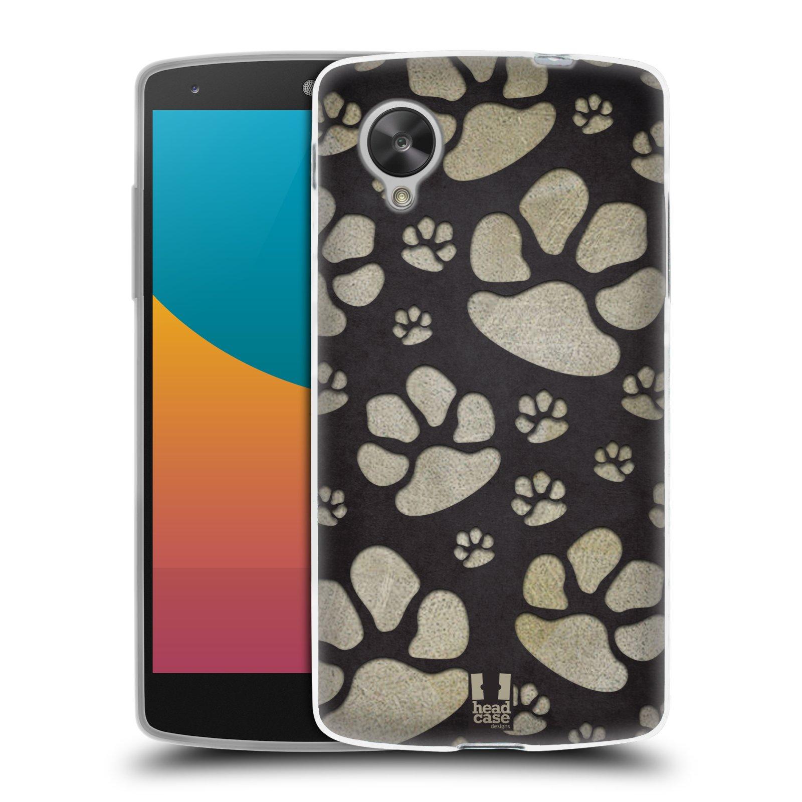 Silikonové pouzdro na mobil LG Nexus 5 HEAD CASE TLAPKY ŠEDÉ (Silikonový kryt či obal na mobilní telefon LG Google Nexus 5 D821)