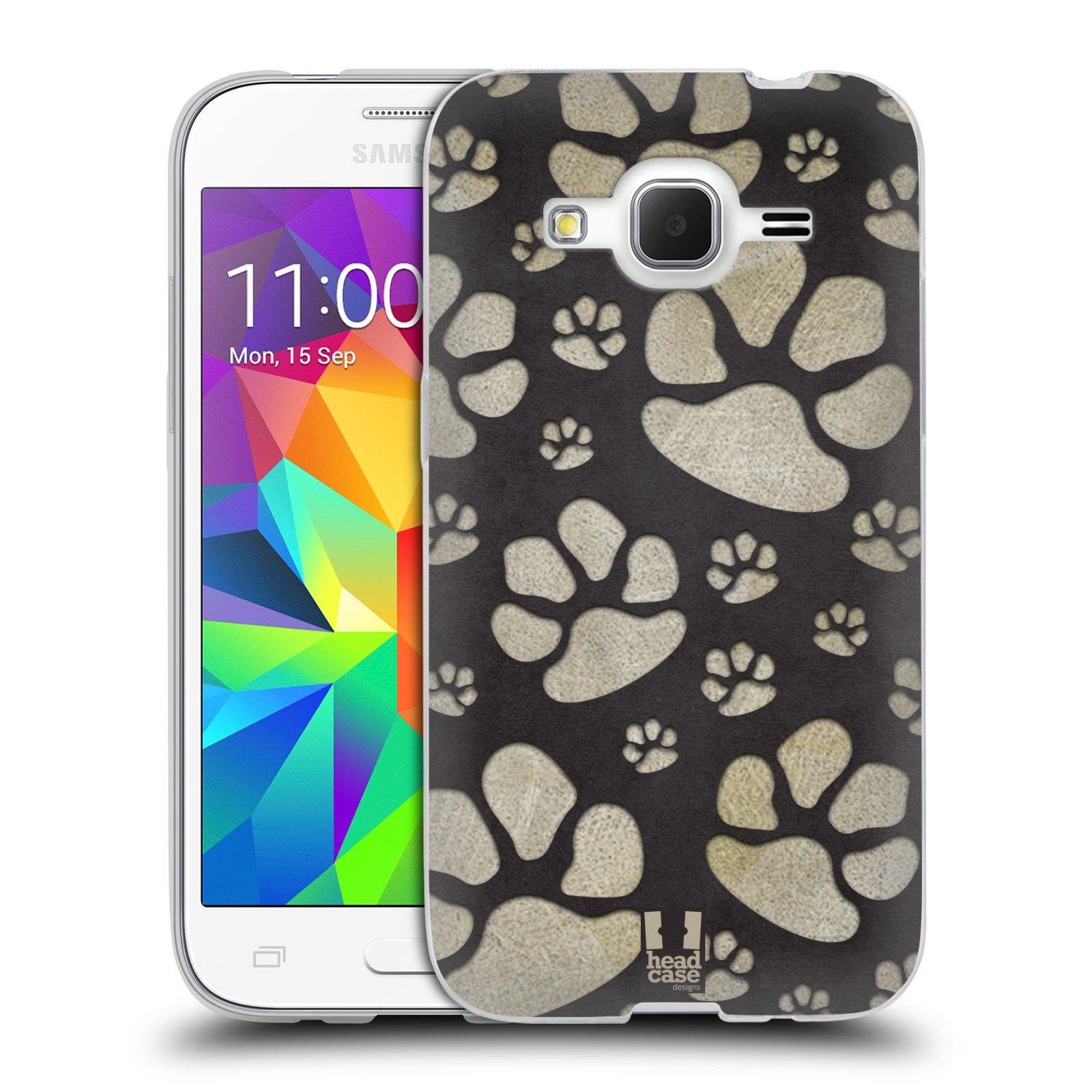 Silikonové pouzdro na mobil Samsung Galaxy Core Prime LTE HEAD CASE TLAPKY ŠEDÉ (Silikonový kryt či obal na mobilní telefon Samsung Galaxy Core Prime LTE SM-G360)