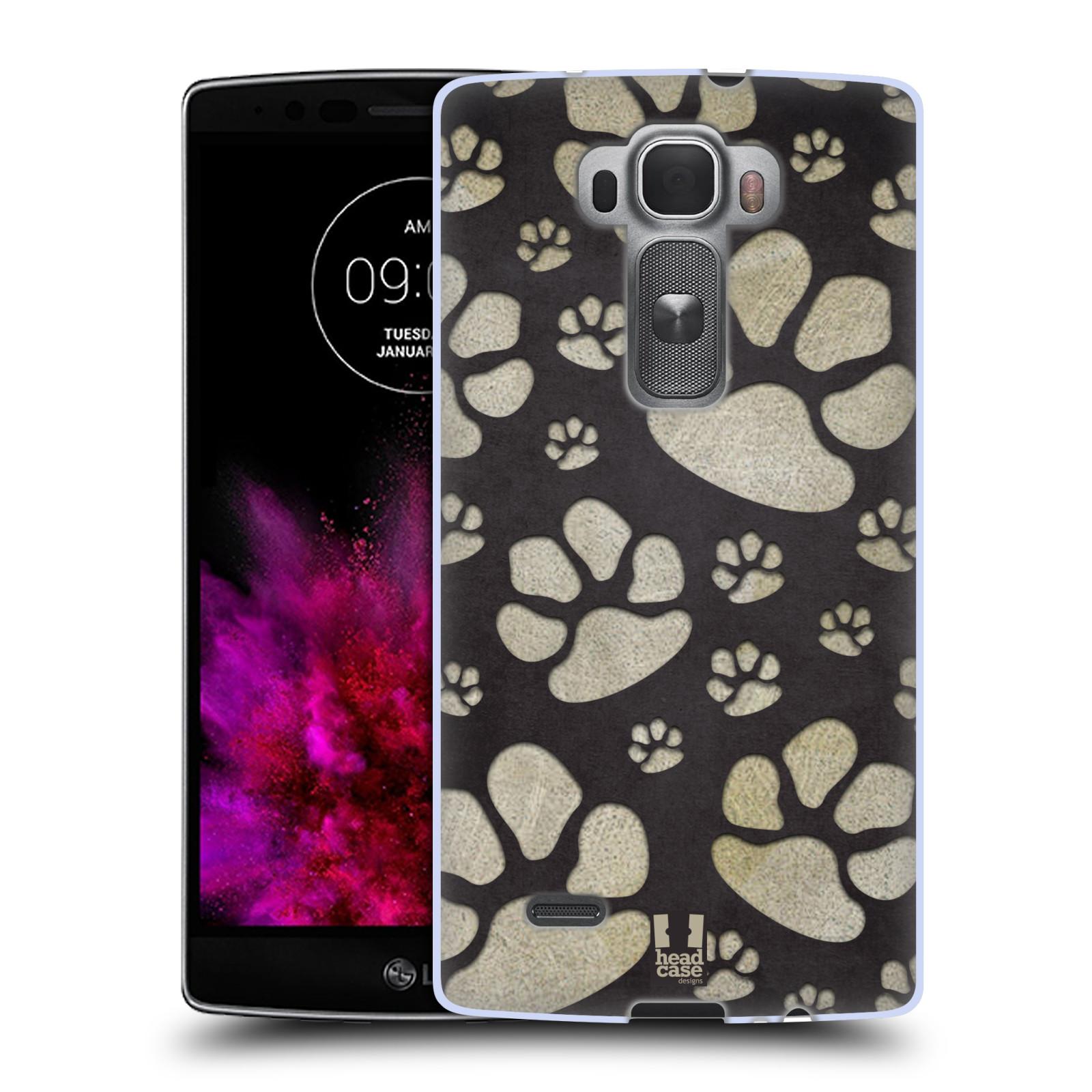 Silikonové pouzdro na mobil LG G Flex 2 HEAD CASE TLAPKY ŠEDÉ (Silikonový kryt či obal na mobilní telefon LG G Flex 2 H955)