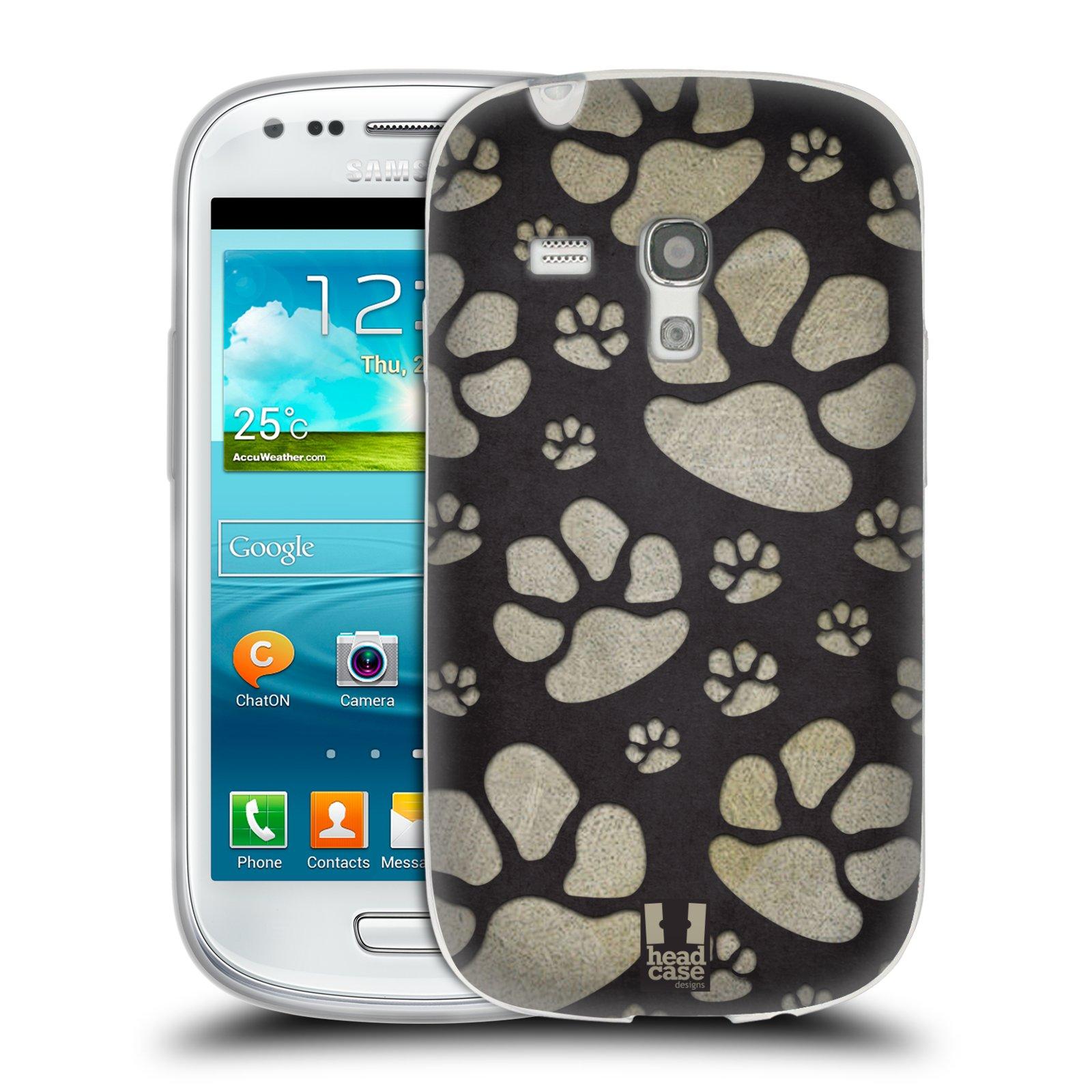 Silikonové pouzdro na mobil Samsung Galaxy S III Mini HEAD CASE TLAPKY ŠEDÉ (Silikonový kryt či obal na mobilní telefon Samsung Galaxy S III Mini GT-i8190)