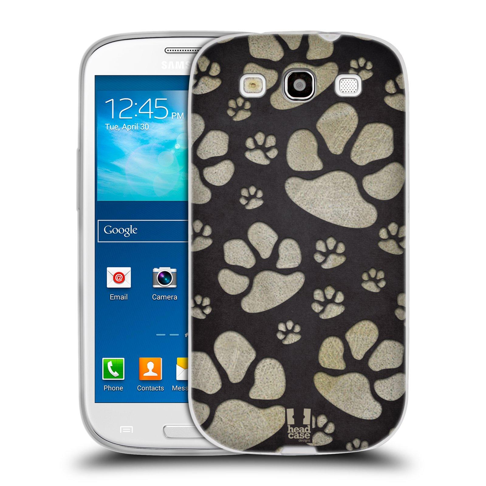 Silikonové pouzdro na mobil Samsung Galaxy S3 Neo HEAD CASE TLAPKY ŠEDÉ (Silikonový kryt či obal na mobilní telefon Samsung Galaxy S3 Neo GT-i9301i)