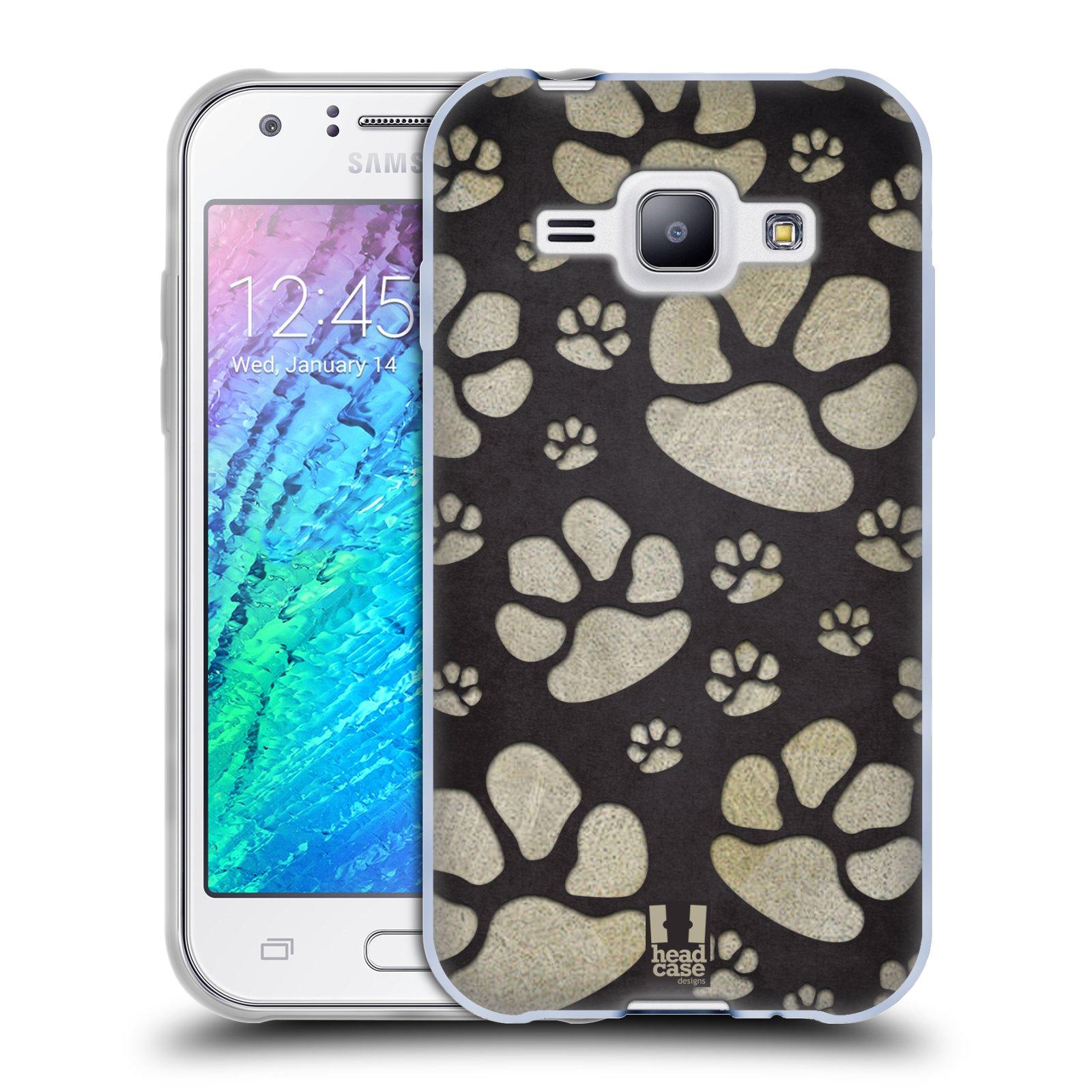 Silikonové pouzdro na mobil Samsung Galaxy J1 HEAD CASE TLAPKY ŠEDÉ (Silikonový kryt či obal na mobilní telefon Samsung Galaxy J1 a J1 Duos)