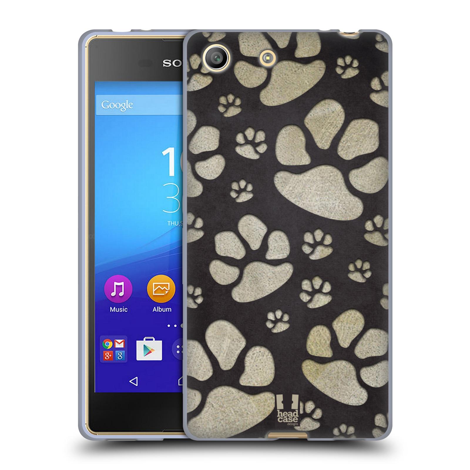 Silikonové pouzdro na mobil Sony Xperia M5 HEAD CASE TLAPKY ŠEDÉ (Silikonový kryt či obal na mobilní telefon Sony Xperia M5 Dual SIM / Aqua)