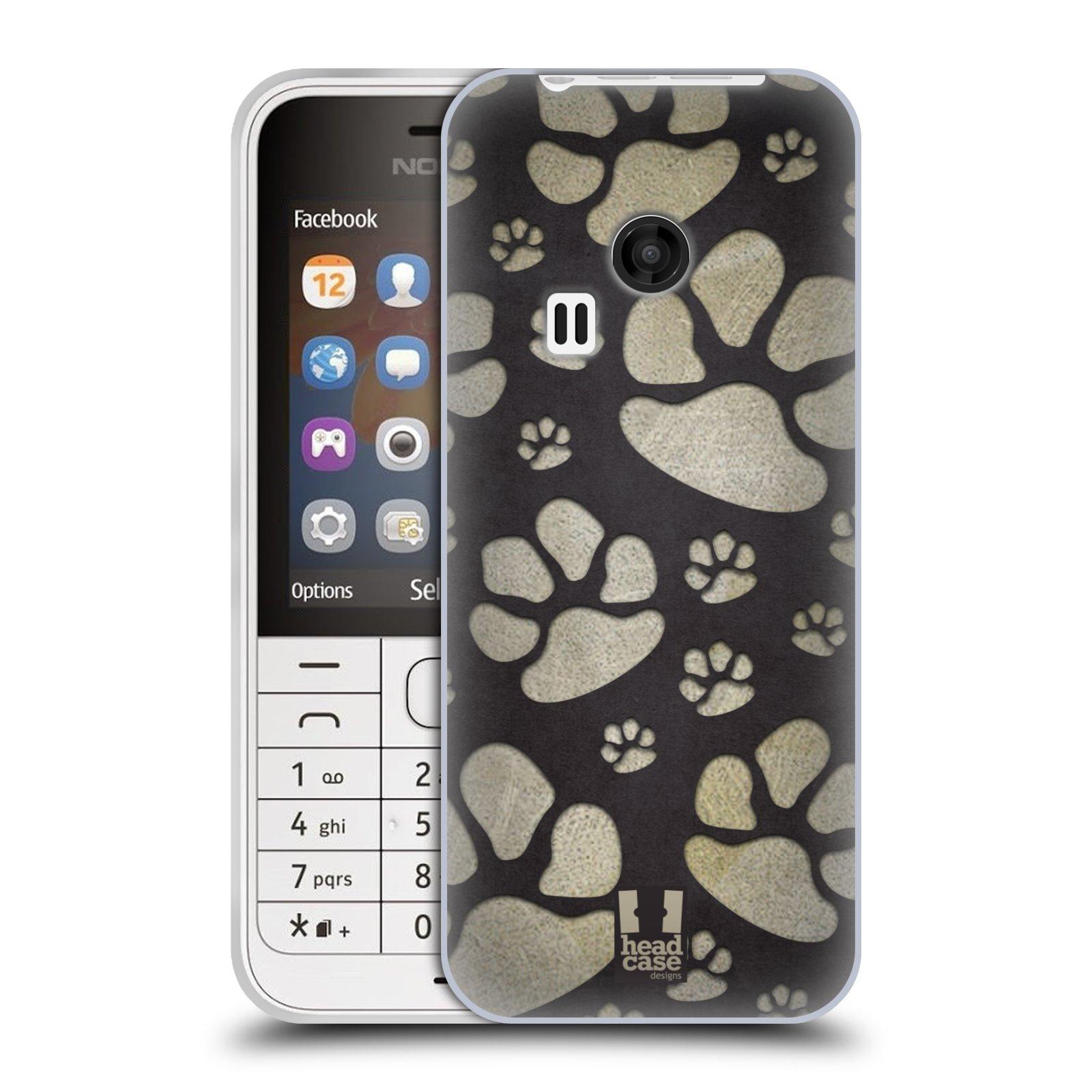 Silikonové pouzdro na mobil Nokia 220 HEAD CASE TLAPKY ŠEDÉ (Silikonový kryt či obal na mobilní telefon Nokia 220 a 220 Dual SIM)