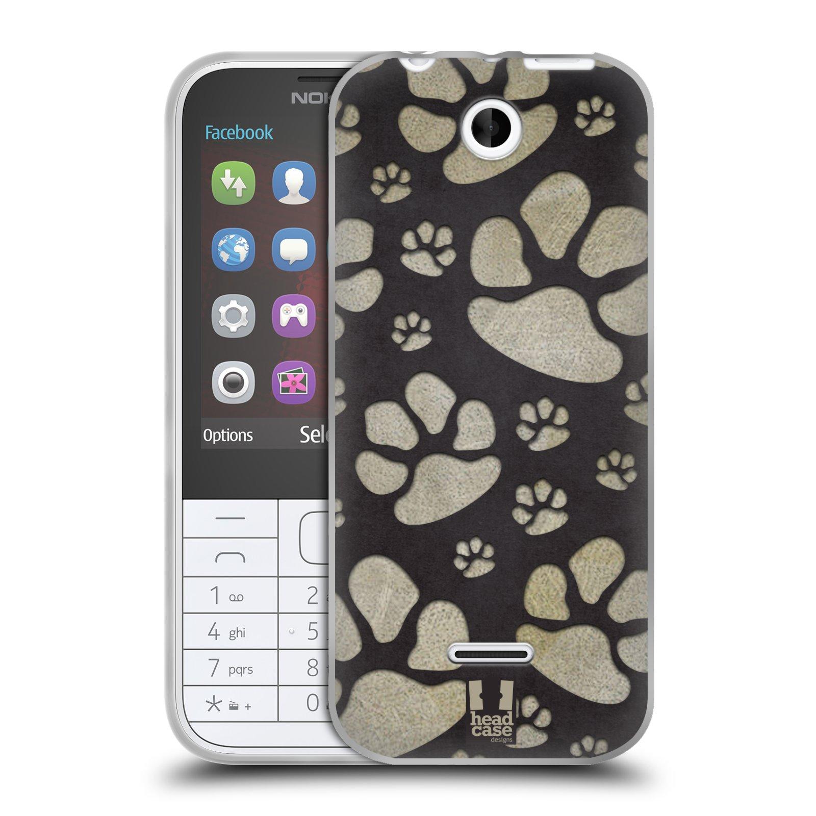 Silikonové pouzdro na mobil Nokia 225 HEAD CASE TLAPKY ŠEDÉ (Silikonový kryt či obal na mobilní telefon Nokia 225)