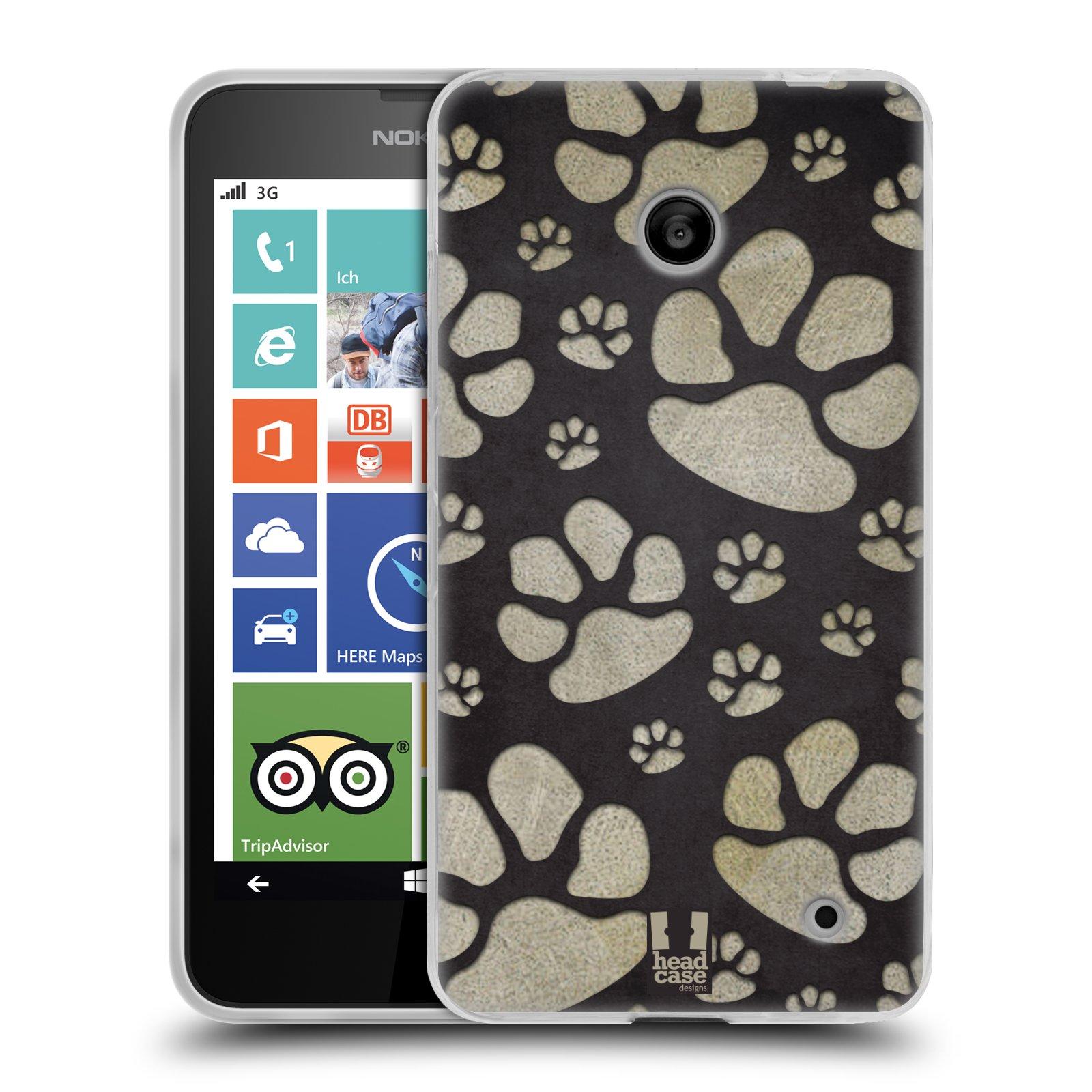 Silikonové pouzdro na mobil Nokia Lumia 630 HEAD CASE TLAPKY ŠEDÉ (Silikonový kryt či obal na mobilní telefon Nokia Lumia 630 a Nokia Lumia 630 Dual SIM)