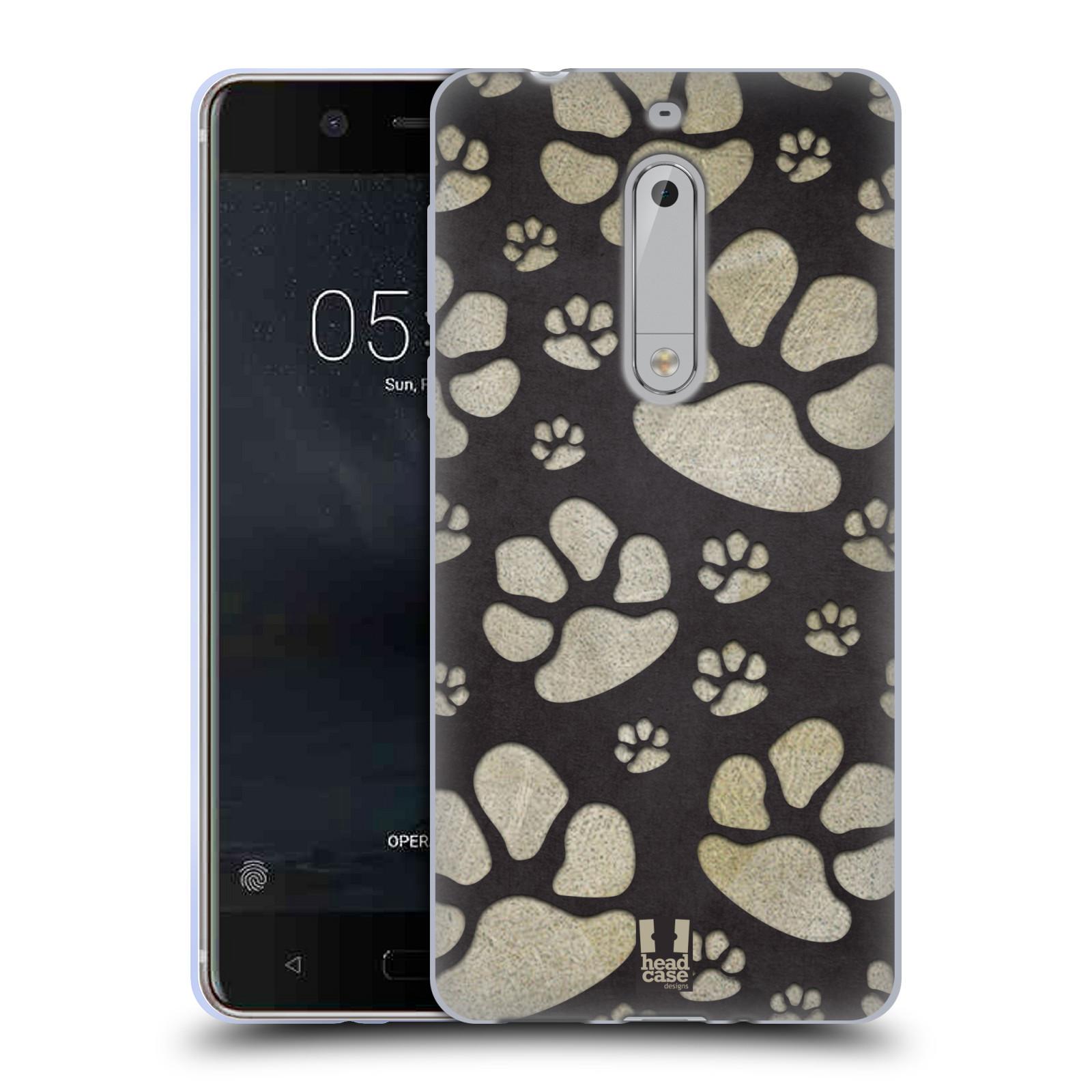 Silikonové pouzdro na mobil Nokia 5 Head Case - TLAPKY ŠEDÉ