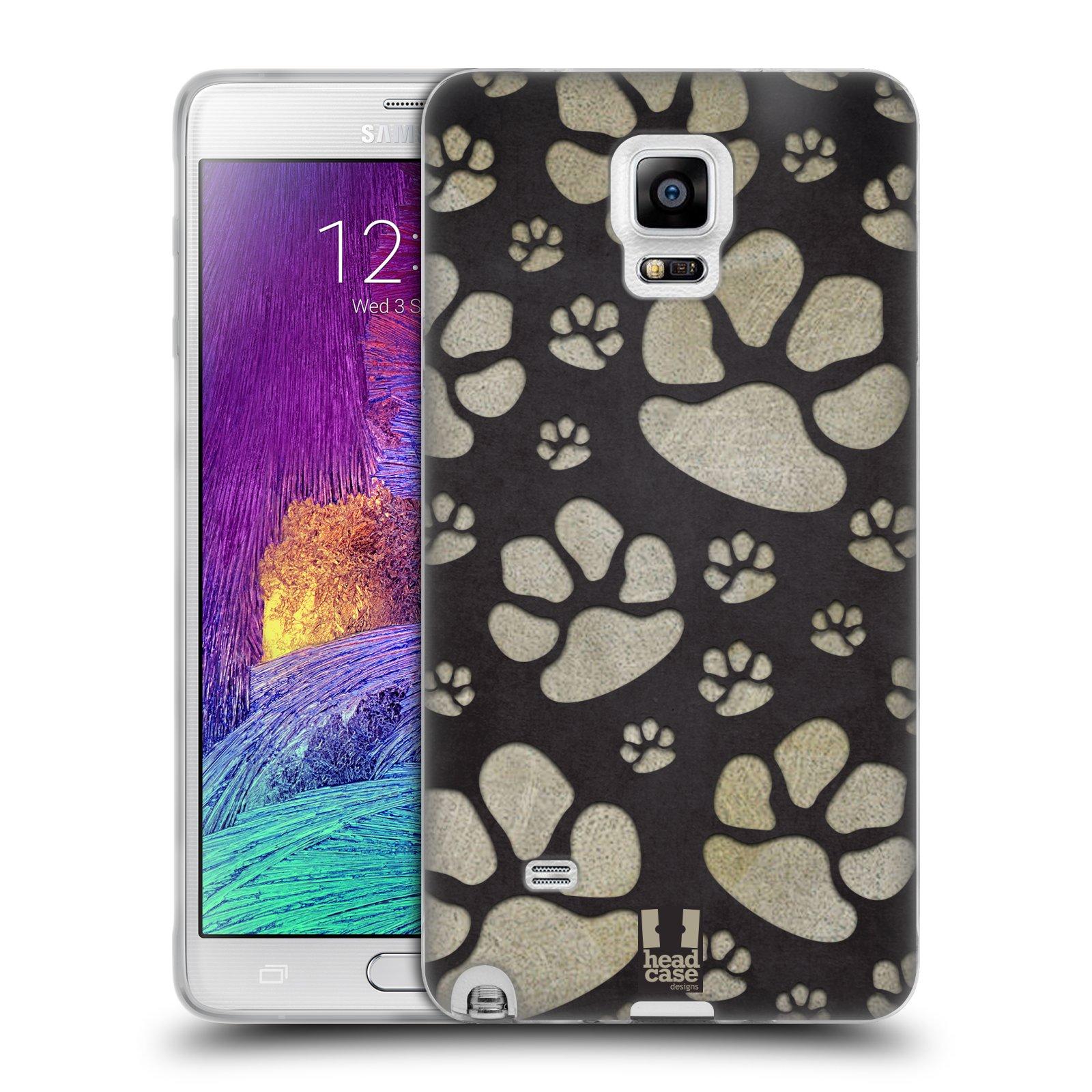 Silikonové pouzdro na mobil Samsung Galaxy Note 4 HEAD CASE TLAPKY ŠEDÉ (Silikonový kryt či obal na mobilní telefon Samsung Galaxy Note 4 SM-N910F)