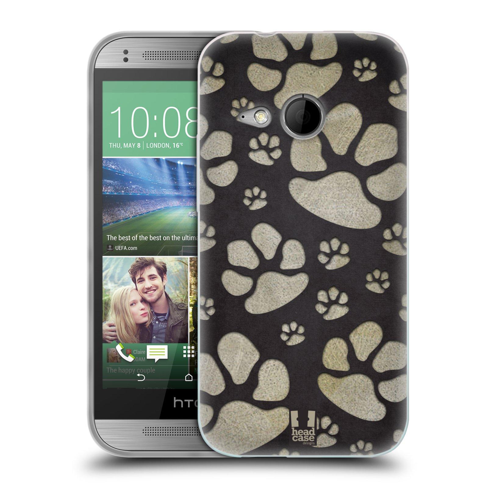 Silikonové pouzdro na mobil HTC ONE Mini 2 HEAD CASE TLAPKY ŠEDÉ (Silikonový kryt či obal na mobilní telefon HTC ONE Mini 2)
