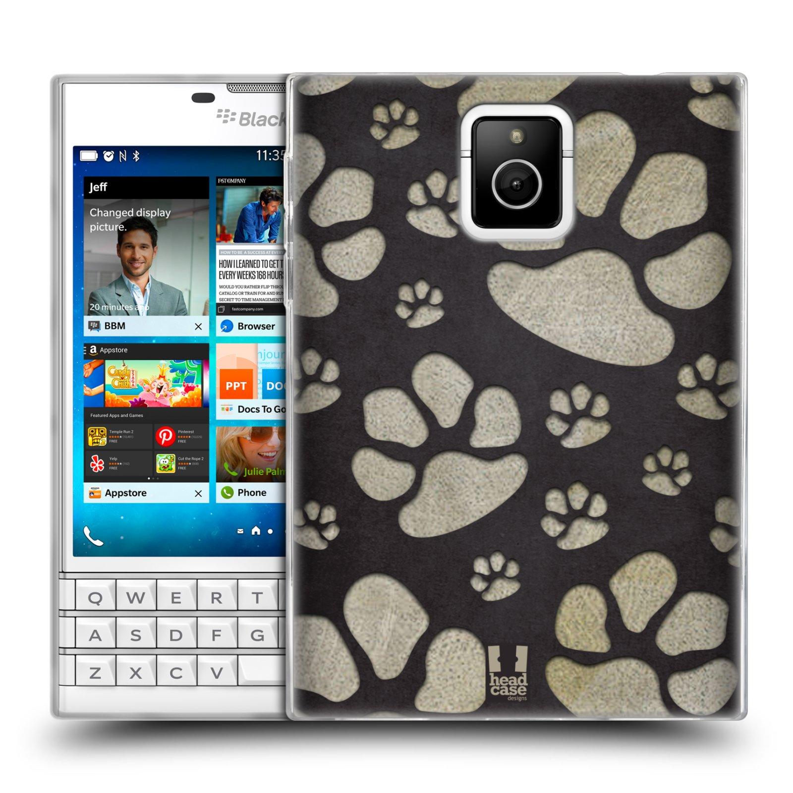 Silikonové pouzdro na mobil Blackberry PASSPORT HEAD CASE TLAPKY ŠEDÉ (Silikonový kryt či obal na mobilní telefon Blackberry PASSPORT)