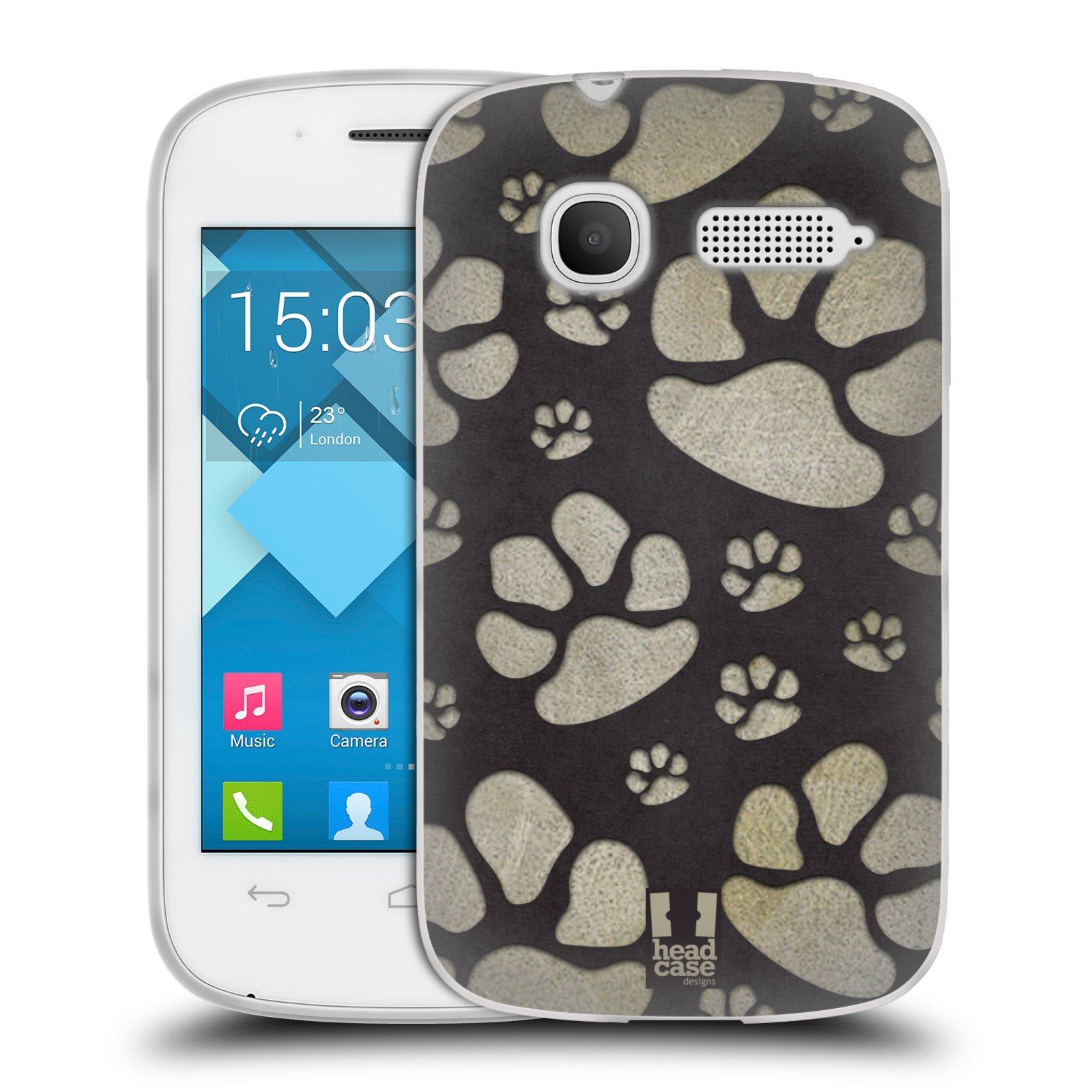 Silikonové pouzdro na mobil Alcatel One Touch Pop C1 HEAD CASE TLAPKY ŠEDÉ (Silikonový kryt či obal na mobilní telefon Alcatel OT-4015D POP C1)