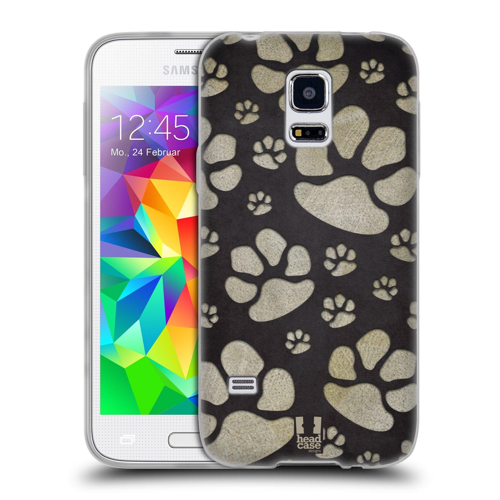 Silikonové pouzdro na mobil Samsung Galaxy S5 Mini HEAD CASE TLAPKY ŠEDÉ (Silikonový kryt či obal na mobilní telefon Samsung Galaxy S5 Mini SM-G800F)