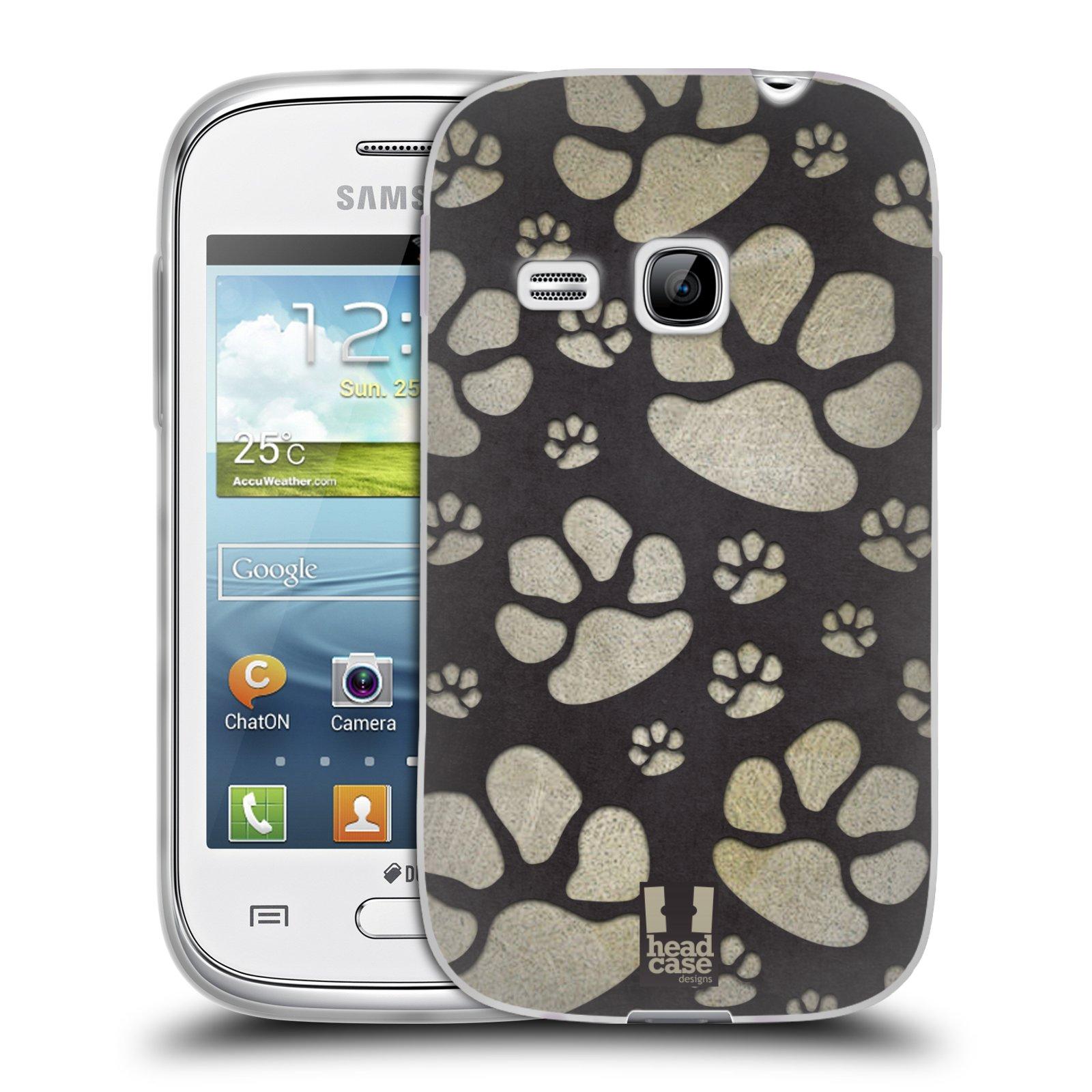 Silikonové pouzdro na mobil Samsung Galaxy Young HEAD CASE TLAPKY ŠEDÉ (Silikonový kryt či obal na mobilní telefon Samsung Galaxy Young GT-S6310)