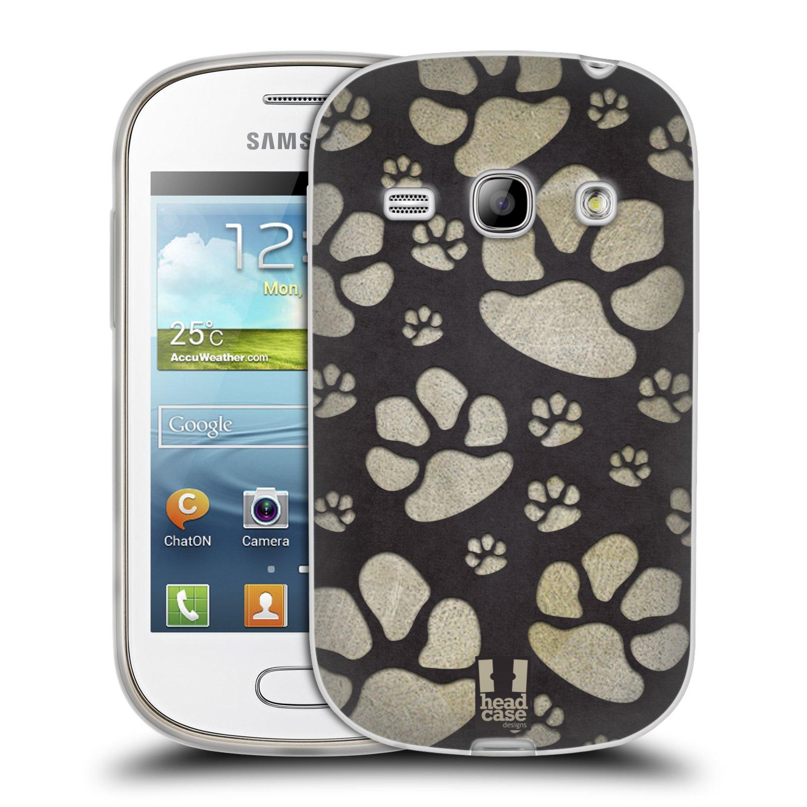Silikonové pouzdro na mobil Samsung Galaxy Fame HEAD CASE TLAPKY ŠEDÉ (Silikonový kryt či obal na mobilní telefon Samsung Galaxy Fame GT-S6810)