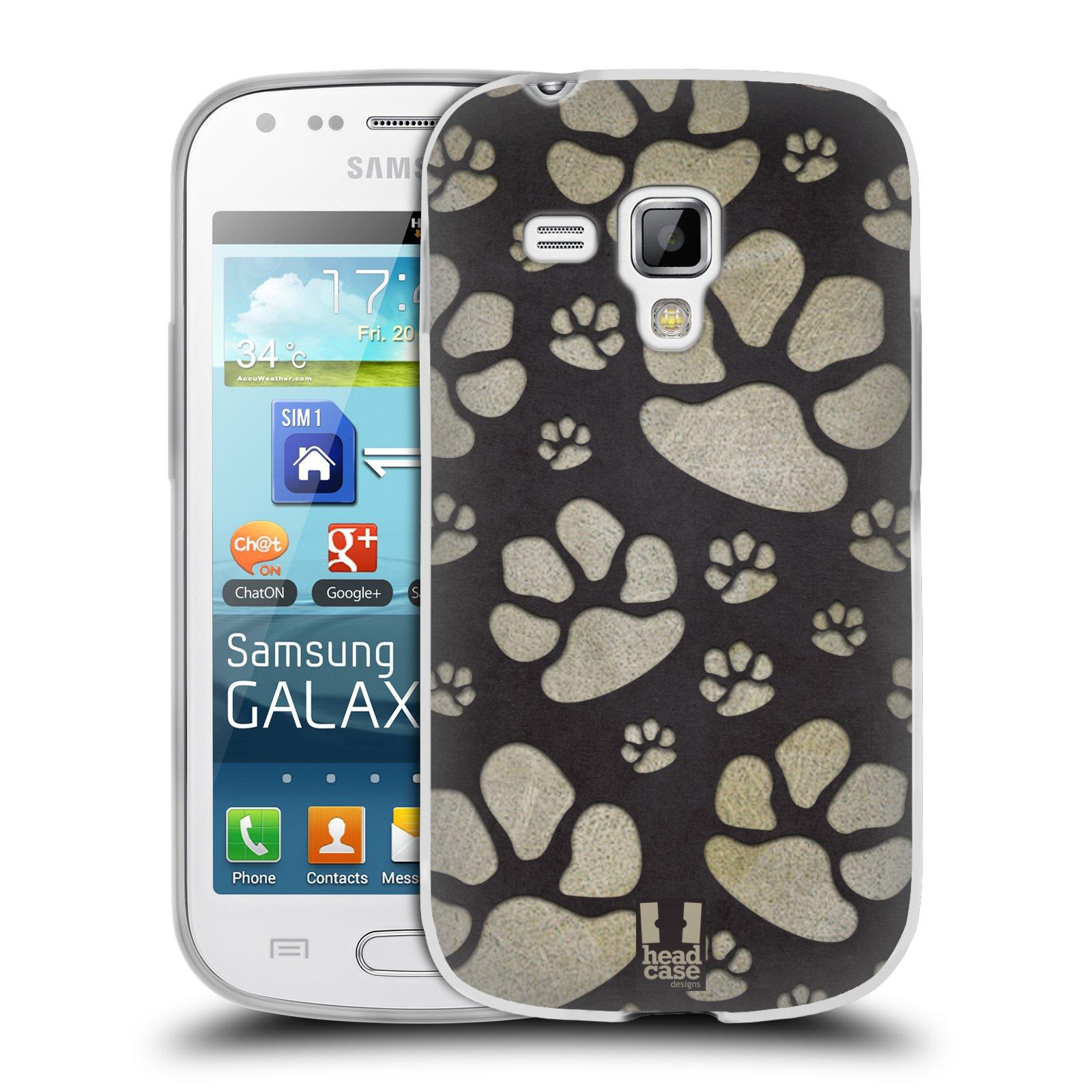 Silikonové pouzdro na mobil Samsung Galaxy Trend HEAD CASE TLAPKY ŠEDÉ (Silikonový kryt či obal na mobilní telefon Samsung Galaxy Trend GT-S7560)
