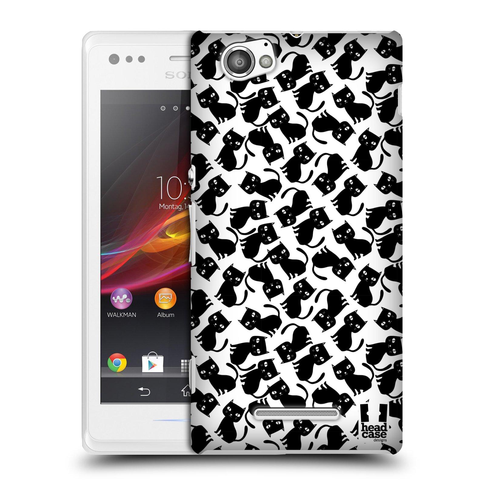 Plastové pouzdro na mobil Sony Xperia M C1905 HEAD CASE KOČKY Black Pattern (Kryt či obal na mobilní telefon Sony Xperia M a M Dual)
