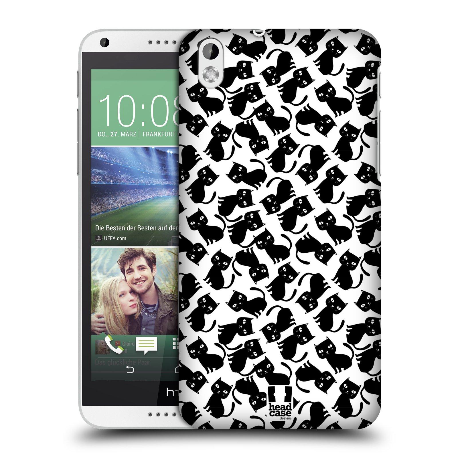 Plastové pouzdro na mobil HTC Desire 816 HEAD CASE KOČKY Black Pattern (Kryt či obal na mobilní telefon HTC Desire 816)