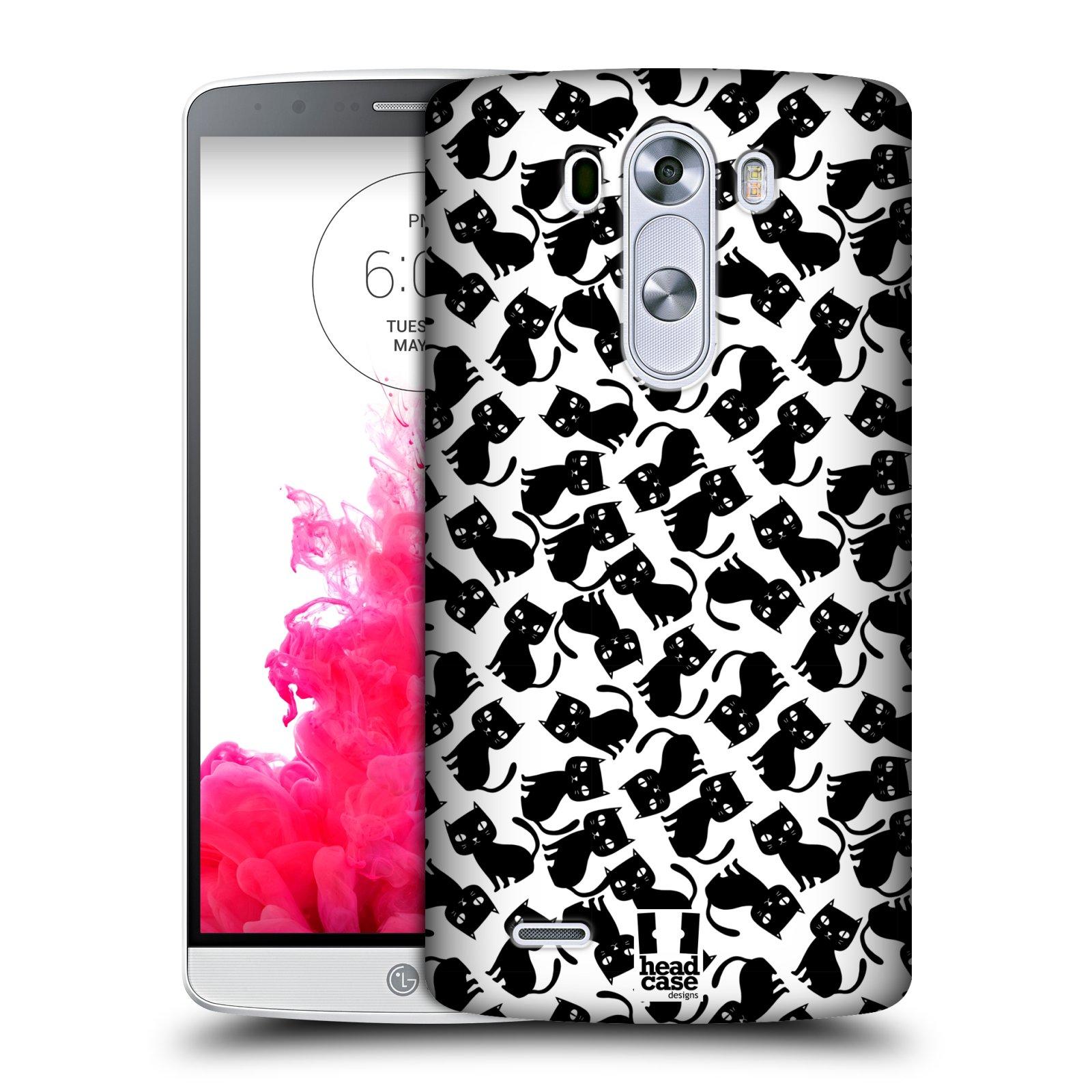Plastové pouzdro na mobil LG G3 HEAD CASE KOČKY Black Pattern (Kryt či obal na mobilní telefon LG G3 D855)