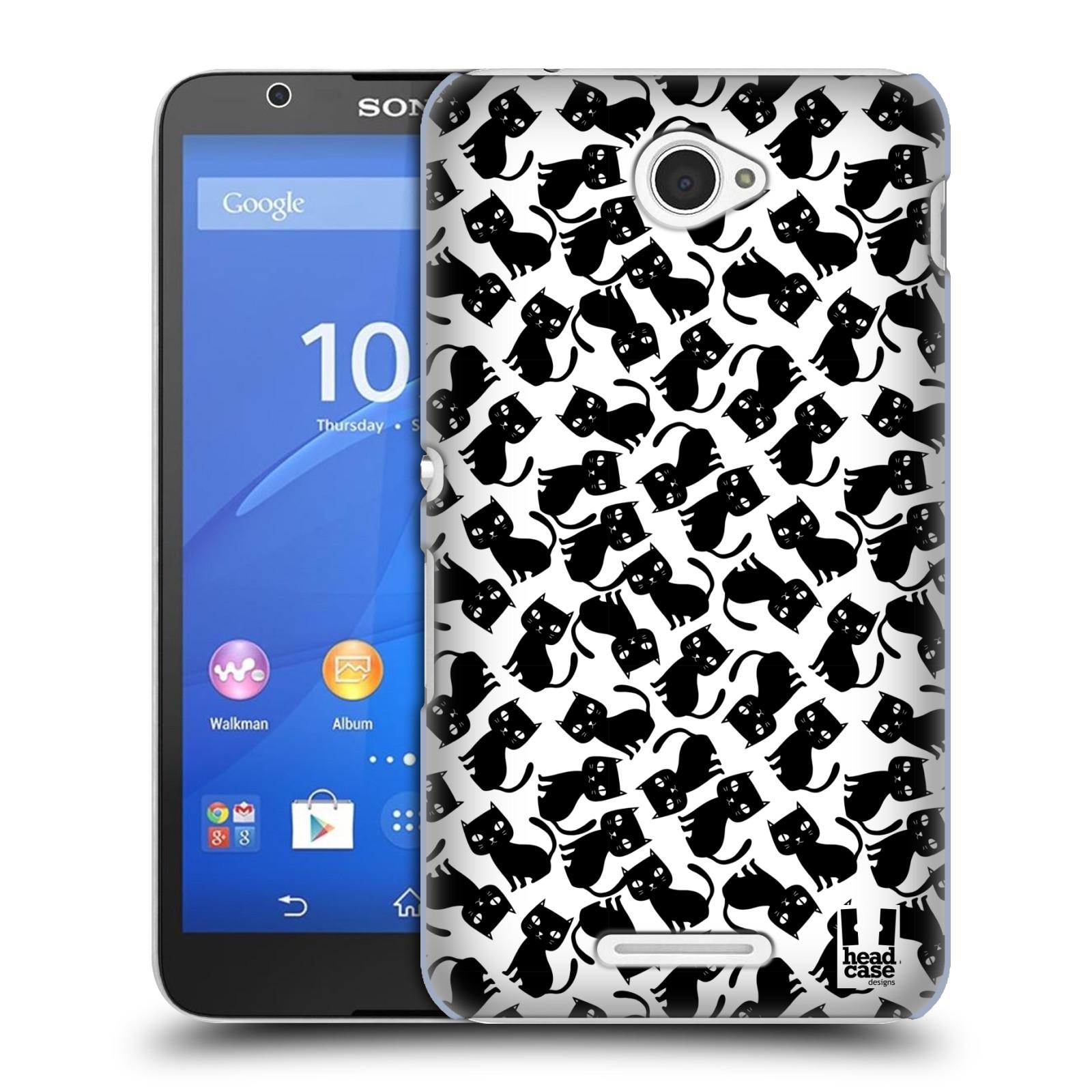 Plastové pouzdro na mobil Sony Xperia E4 E2105 HEAD CASE KOČKY Black Pattern (Kryt či obal na mobilní telefon Sony Xperia E4 a E4 Dual SIM)