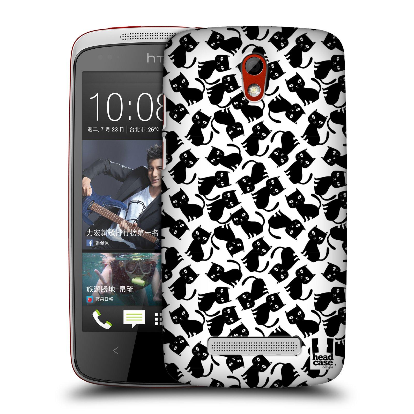 Plastové pouzdro na mobil HTC Desire 500 HEAD CASE KOČKY Black Pattern (Kryt či obal na mobilní telefon HTC Desire 500)
