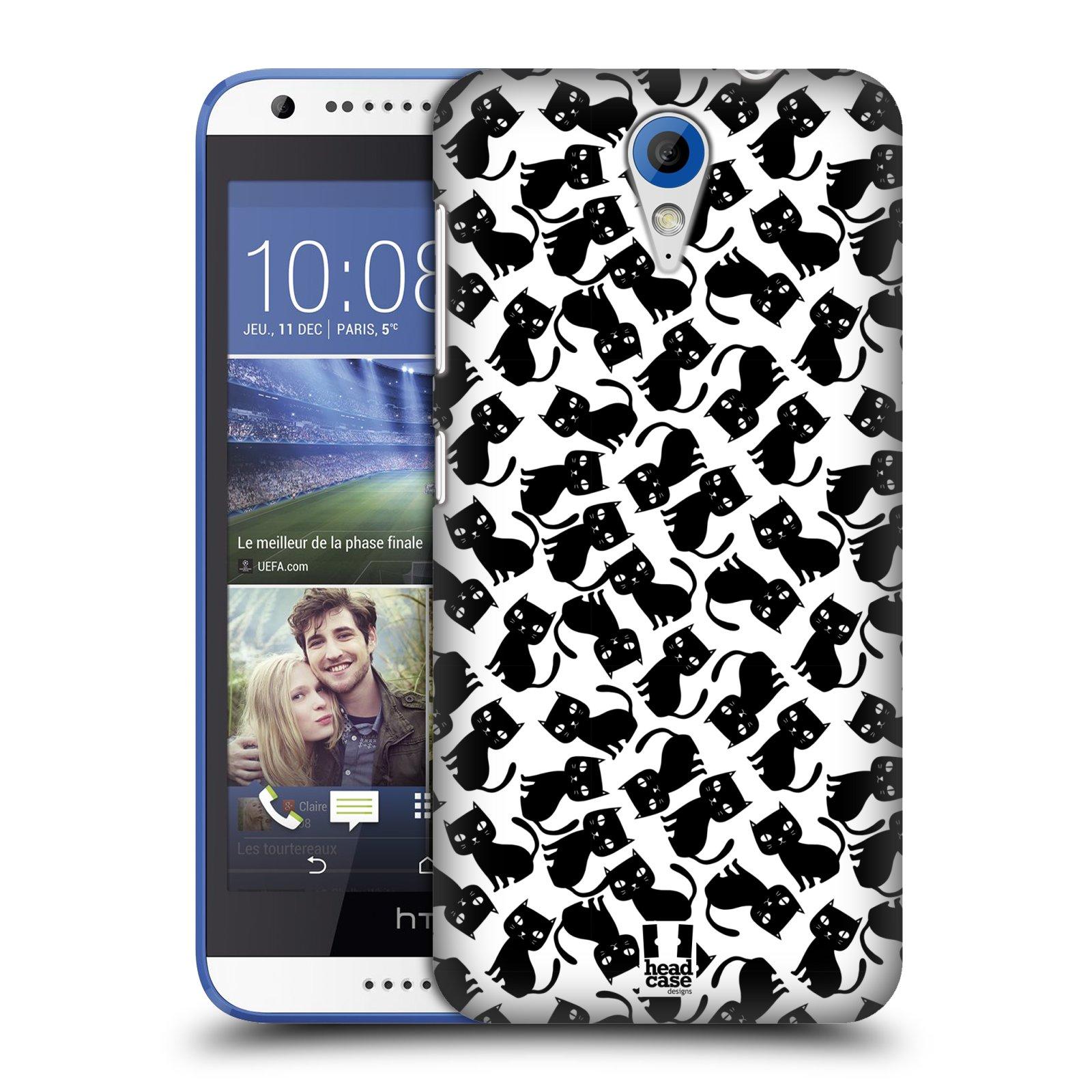 Plastové pouzdro na mobil HTC Desire 620 HEAD CASE KOČKY Black Pattern (Kryt či obal na mobilní telefon HTC Desire 620)