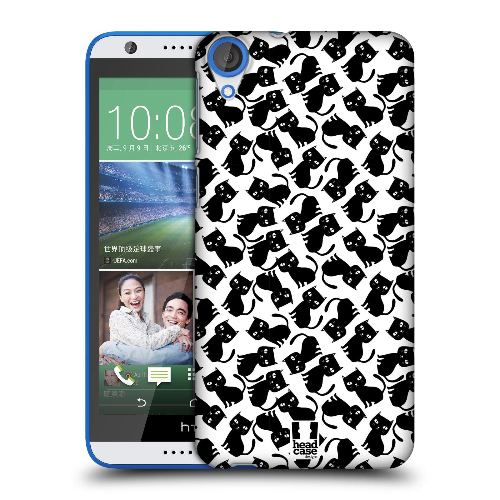 Plastové pouzdro na mobil HTC Desire 820 HEAD CASE KOČKY Black Pattern (Kryt či obal na mobilní telefon HTC Desire 820)