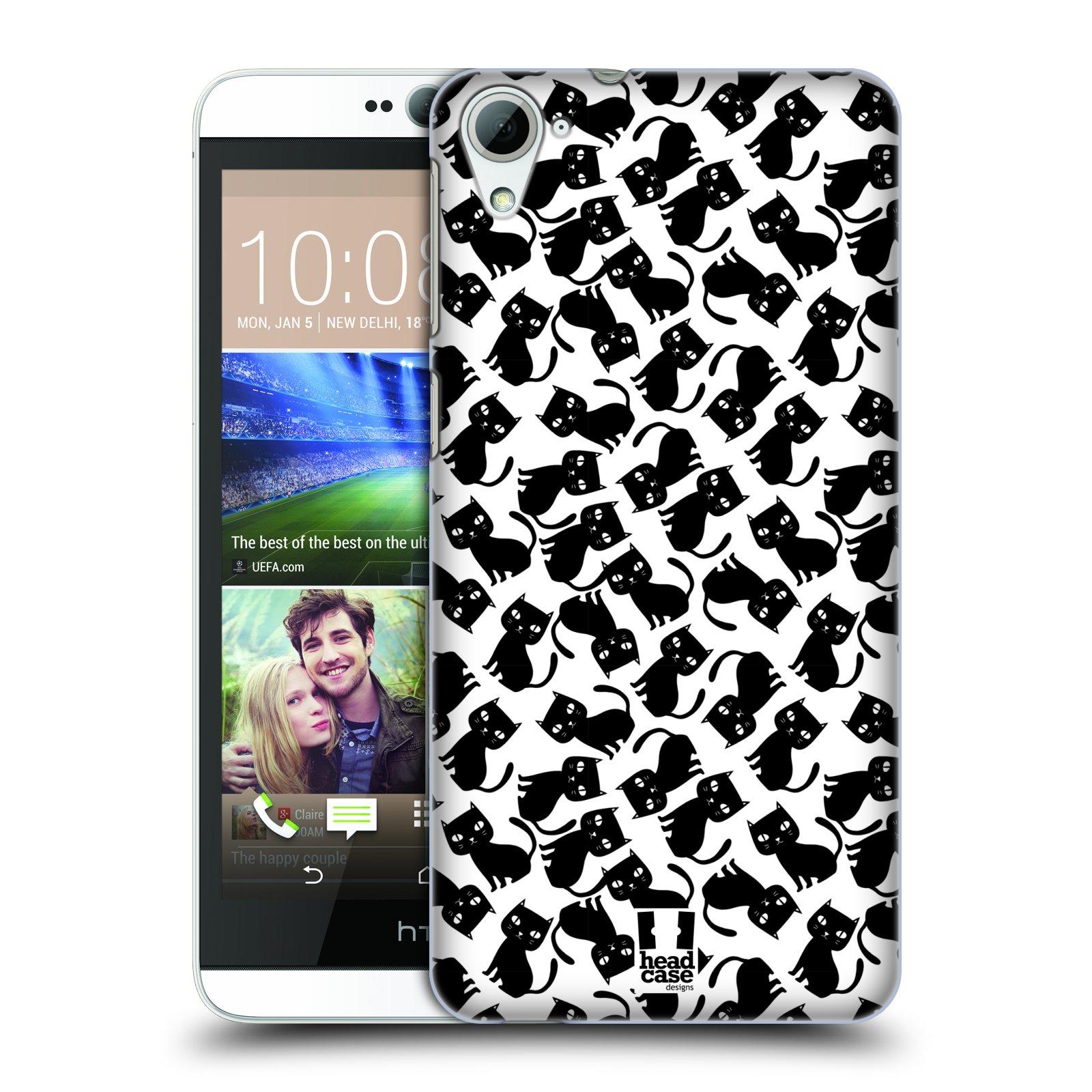 Plastové pouzdro na mobil HTC Desire 826 HEAD CASE KOČKY Black Pattern (Kryt či obal na mobilní telefon HTC Desire 826 Dual SIM)