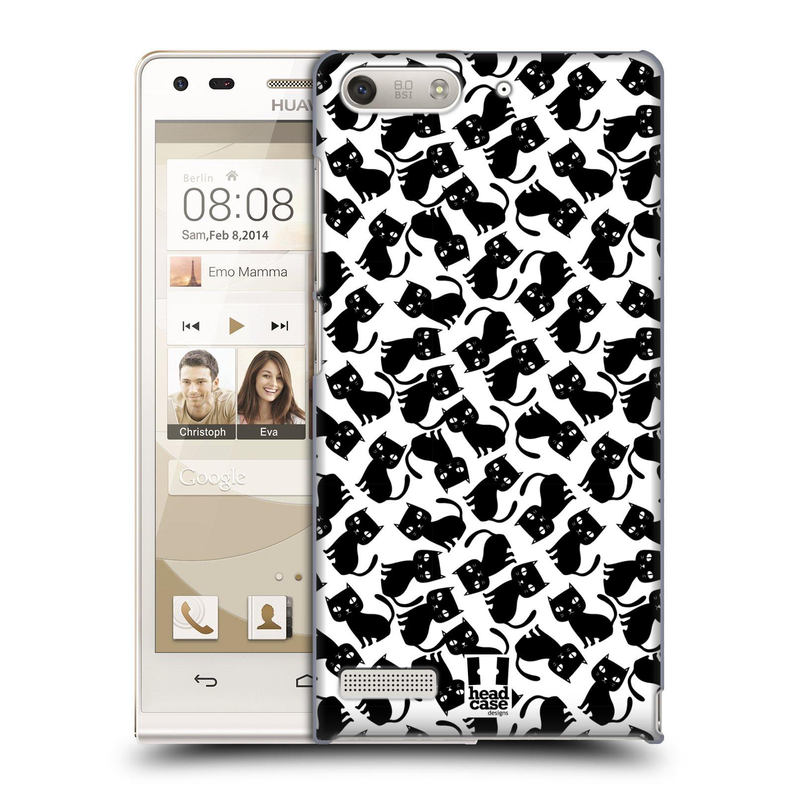 Plastové pouzdro na mobil Huawei Ascend G6 HEAD CASE KOČKY Black Pattern (Kryt či obal na mobilní telefon Huawei Ascend G6 bez LTE)