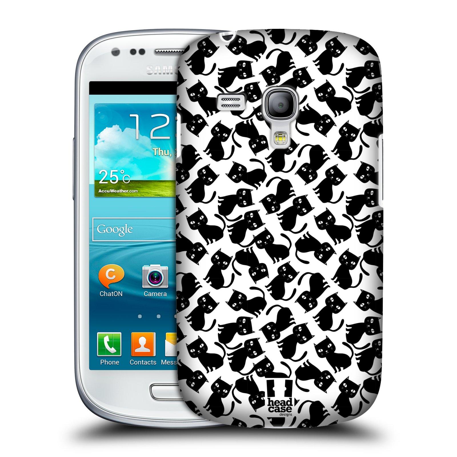 Plastové pouzdro na mobil Samsung Galaxy S3 Mini VE HEAD CASE KOČKY Black Pattern (Kryt či obal na mobilní telefon Samsung Galaxy S3 Mini VE GT-i8200)