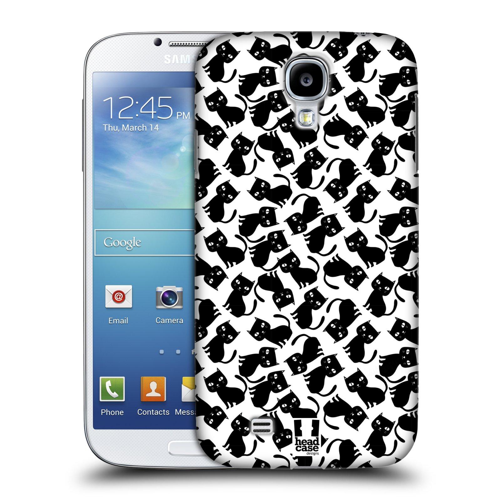 Plastové pouzdro na mobil Samsung Galaxy S4 HEAD CASE KOČKY Black Pattern (Kryt či obal na mobilní telefon Samsung Galaxy S4 GT-i9505 / i9500)