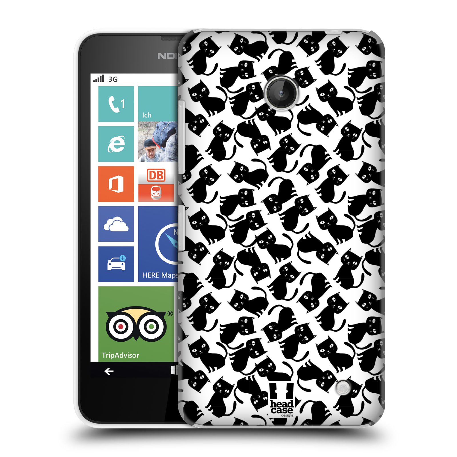 Plastové pouzdro na mobil Nokia Lumia 630 HEAD CASE KOČKY Black Pattern (Kryt či obal na mobilní telefon Nokia Lumia 630 a Nokia Lumia 630 Dual SIM)