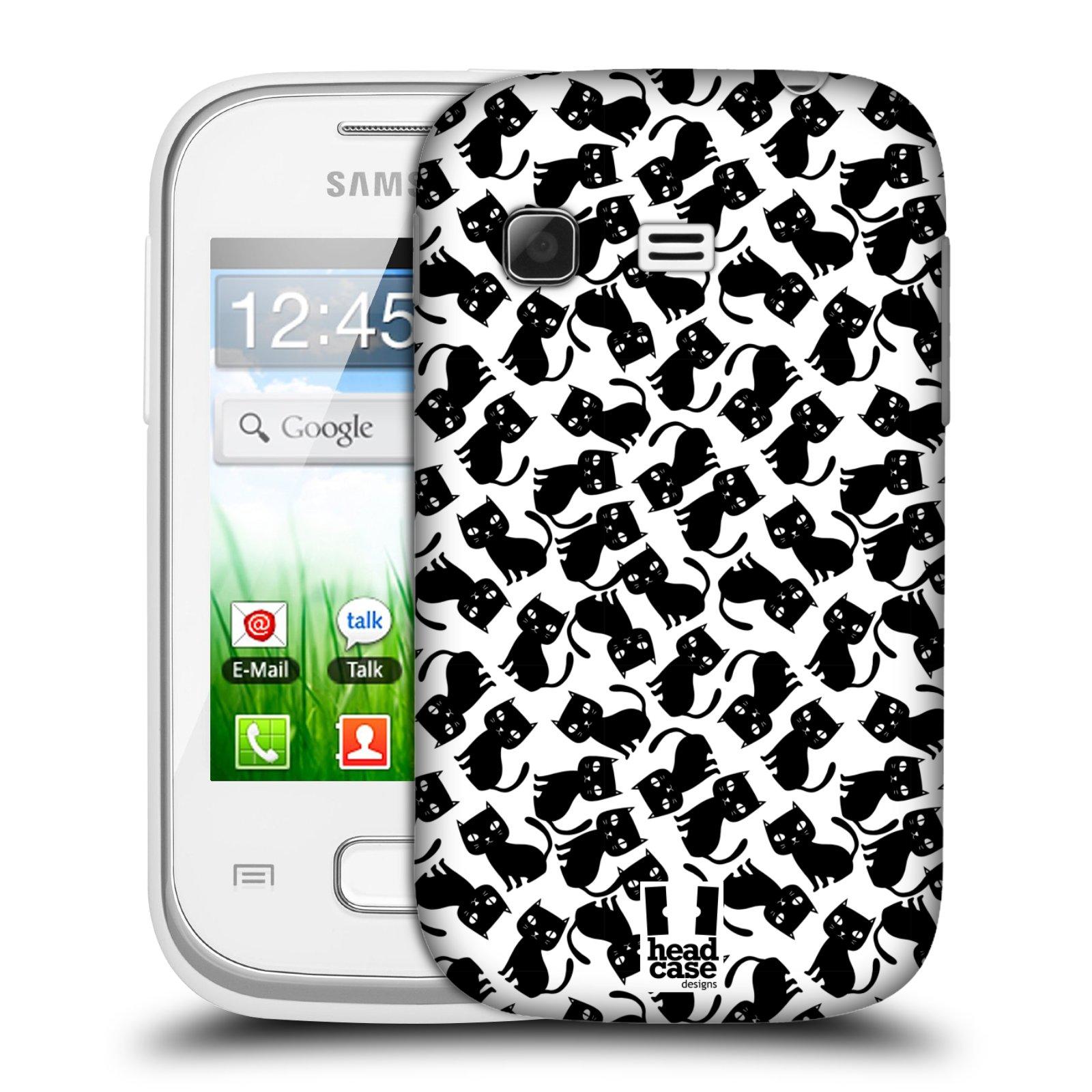 Plastové pouzdro na mobil Samsung Galaxy Pocket HEAD CASE KOČKY Black Pattern (Kryt či obal na mobilní telefon Samsung Galaxy Pocket GT-S5300)