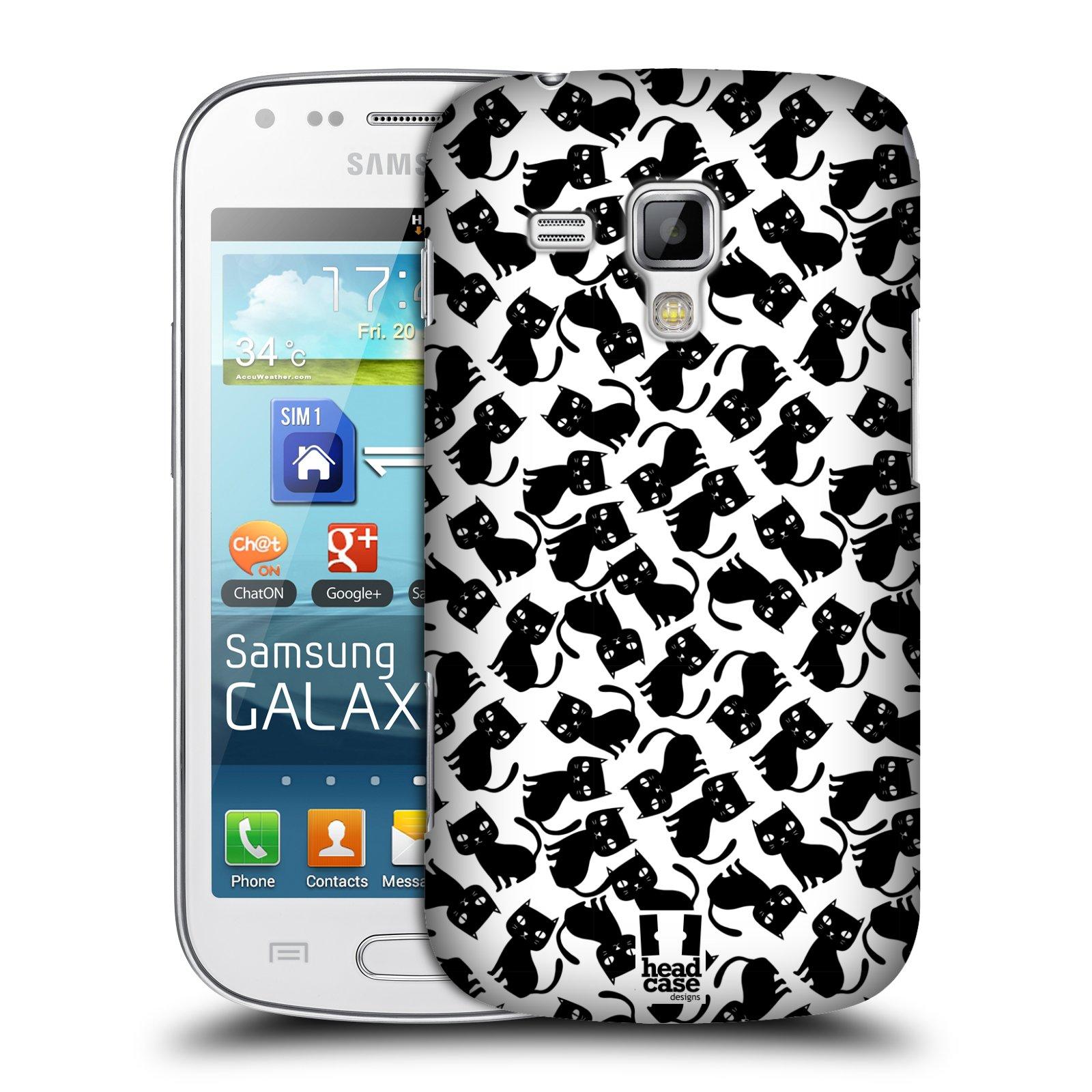 Plastové pouzdro na mobil Samsung Galaxy S Duos HEAD CASE KOČKY Black Pattern (Kryt či obal na mobilní telefon Samsung Galaxy S Duos GT-S7562)
